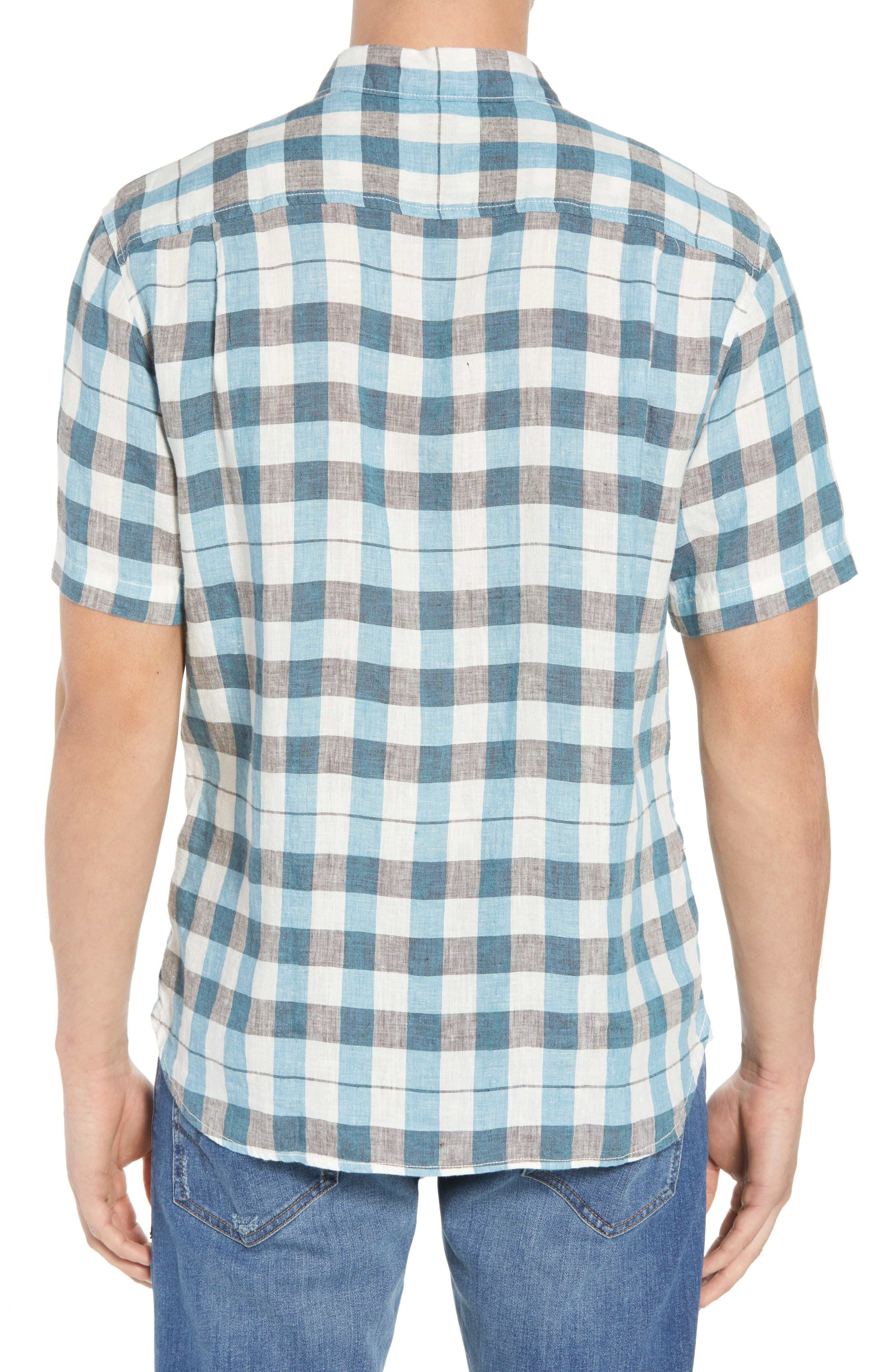 La Grande Gingham Linen Sport Shirt,                             Alternate thumbnail 3, color,                             Cobalt Sea