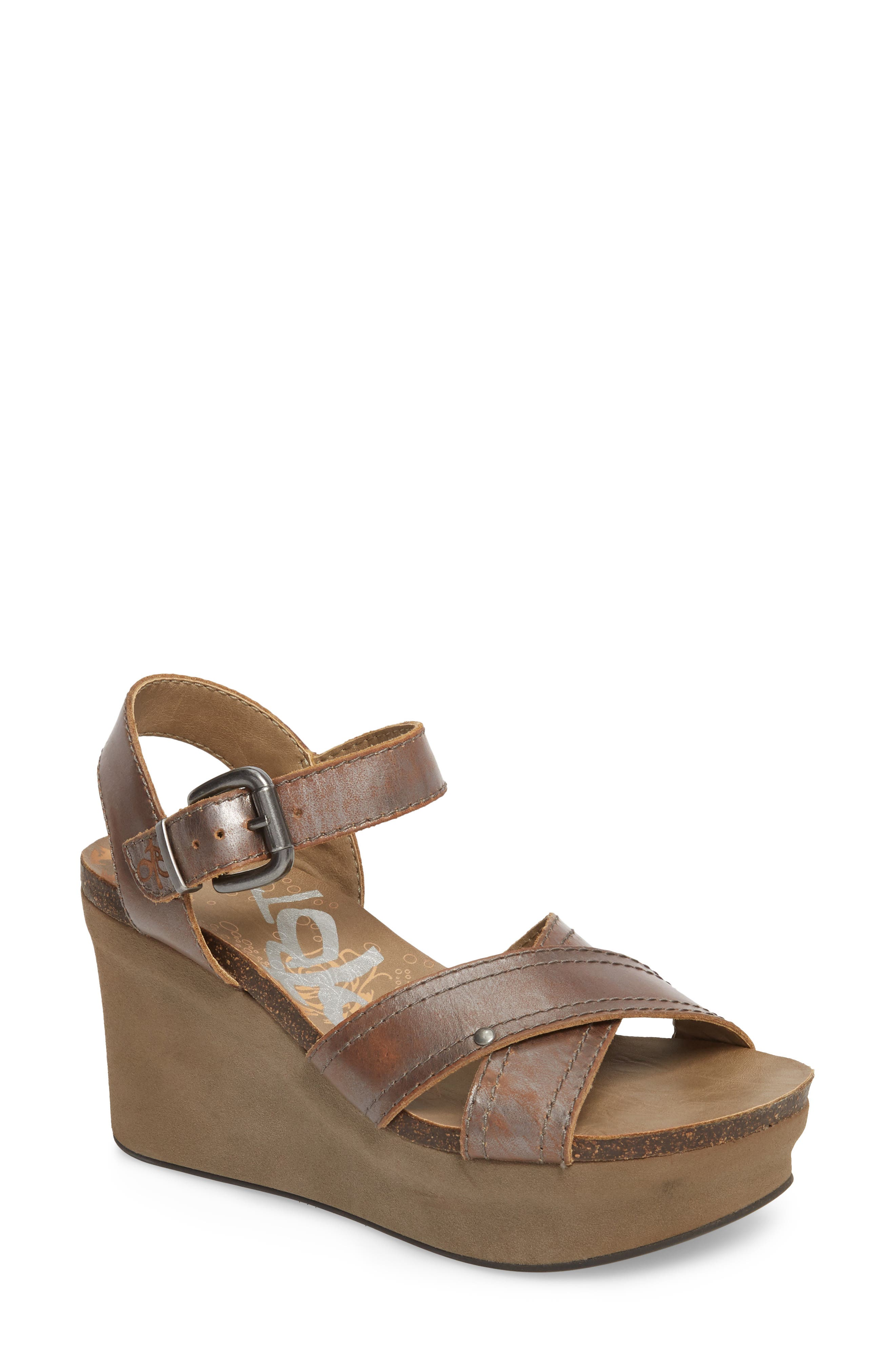 Bee Cave Wedge Sandal,                         Main,                         color, Pewter Leather