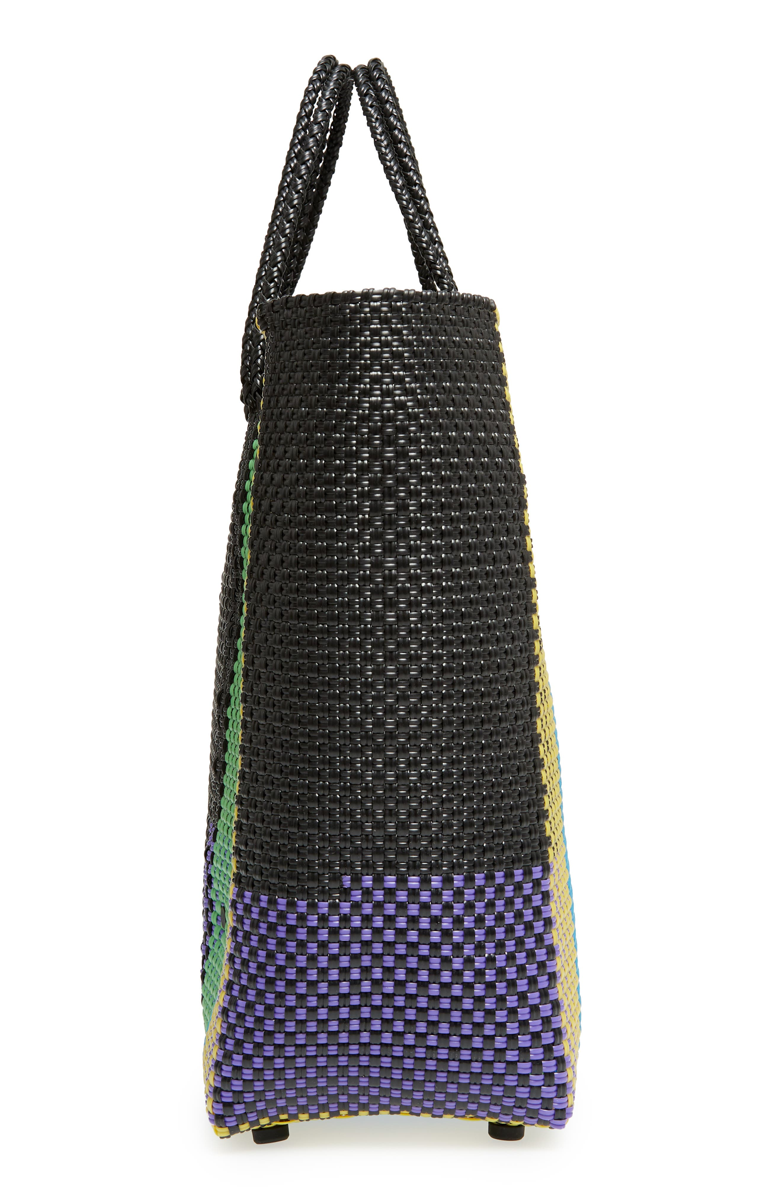 Large Woven Tote,                             Alternate thumbnail 5, color,                             Green/ Yellow