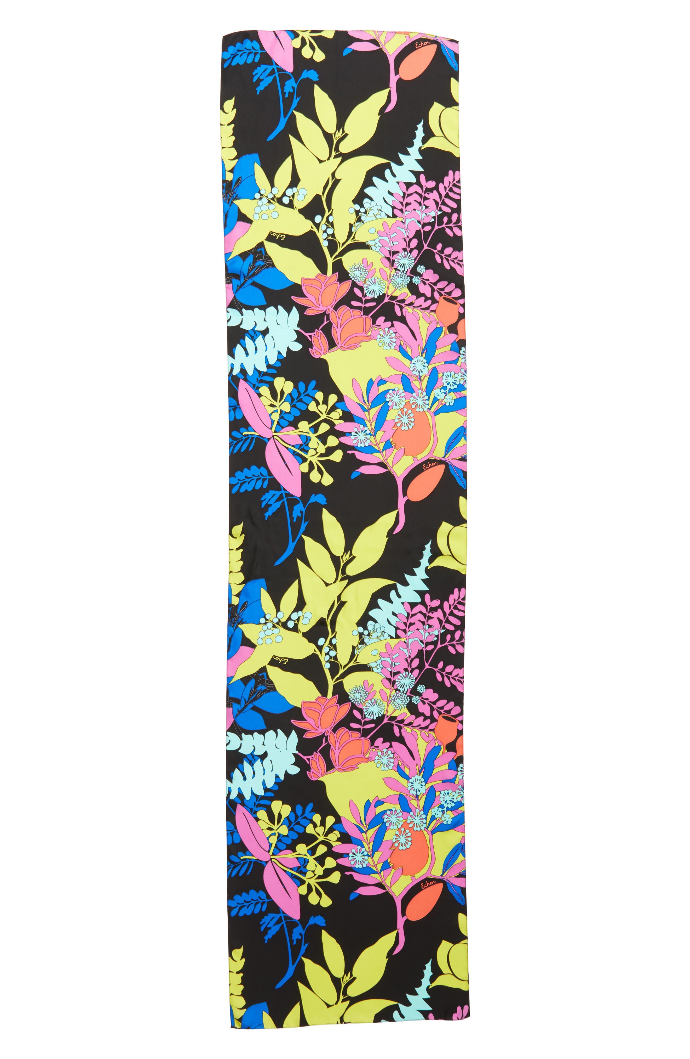 Alonnah Floral Silk Scarf,                             Alternate thumbnail 3, color,                             Black