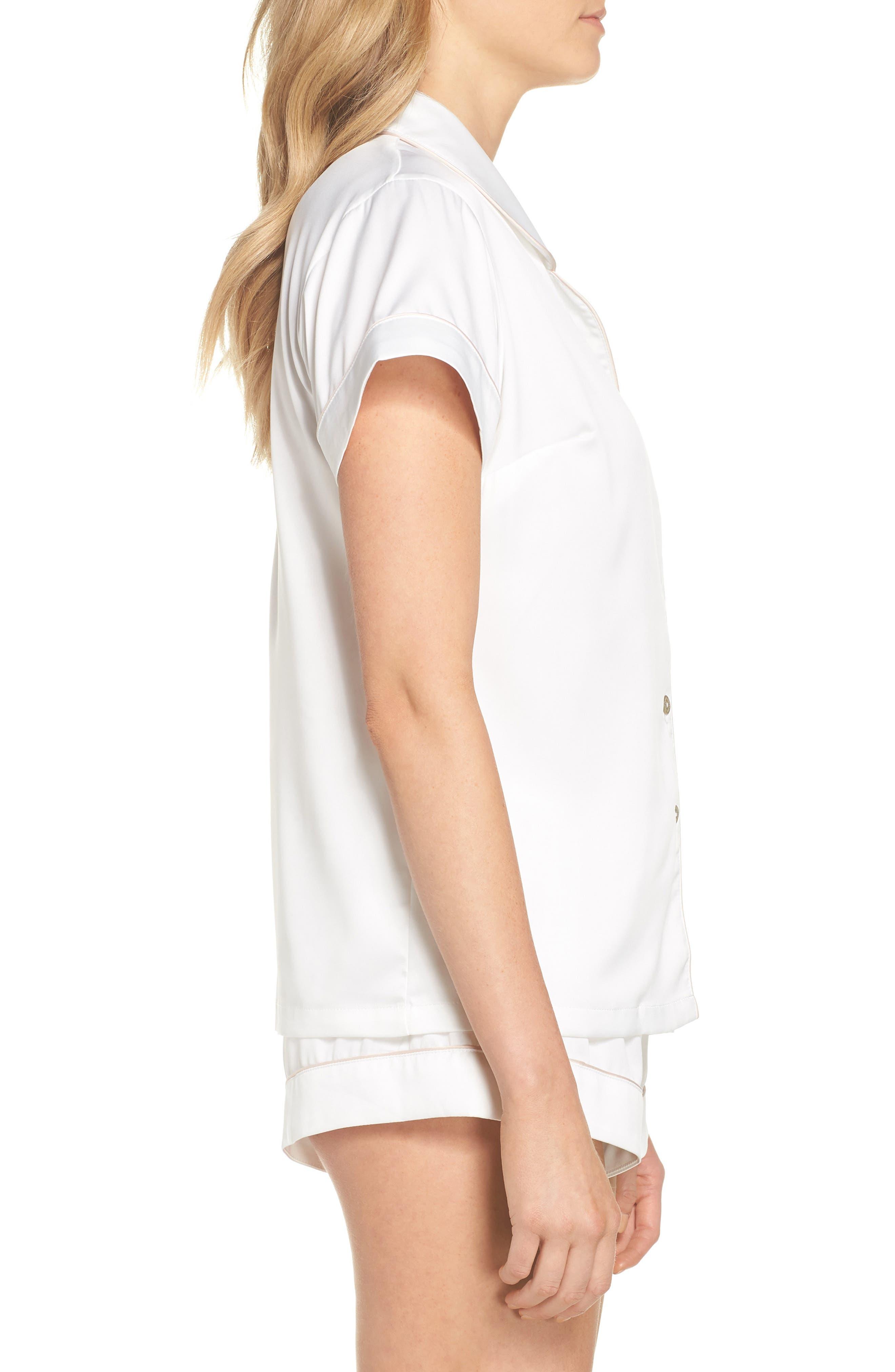 Piped Short Pajamas,                             Alternate thumbnail 3, color,                             White