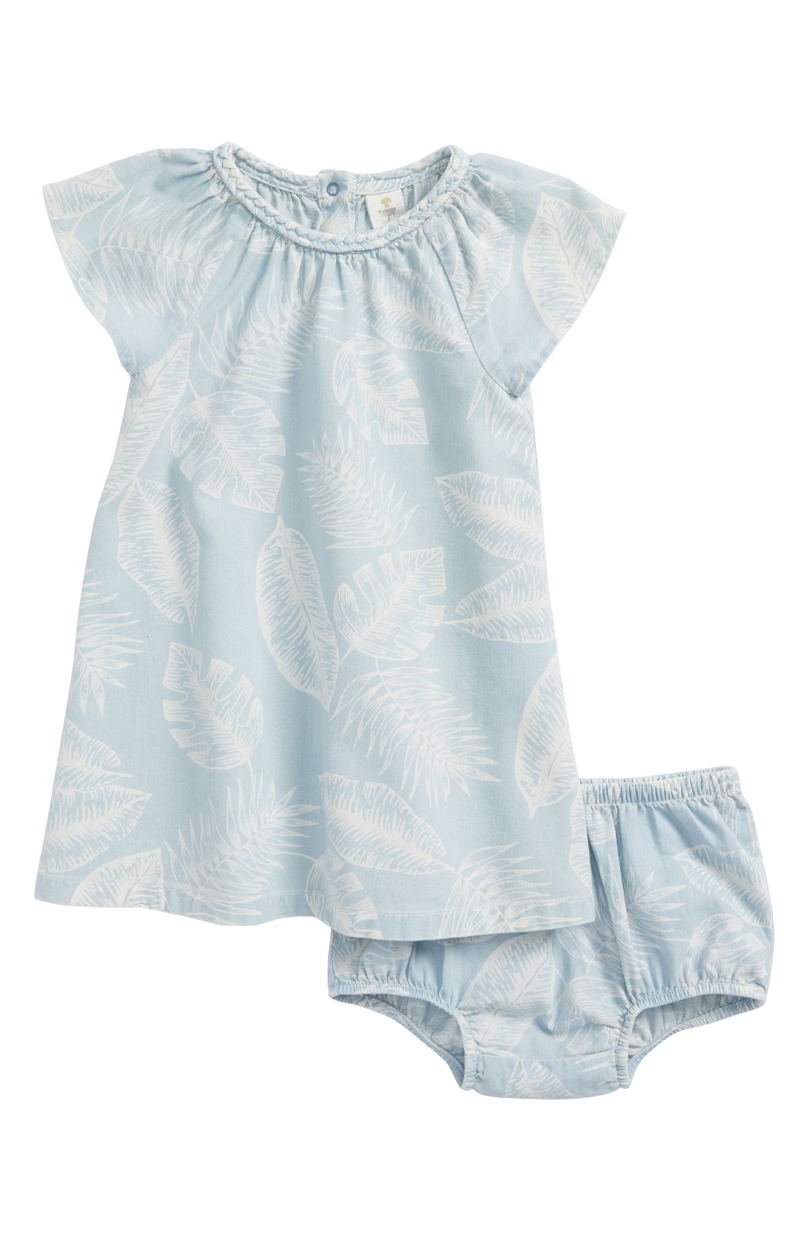 Palm Leaf Chambray Dress,                         Main,                         color, Blue Thread Large Palms
