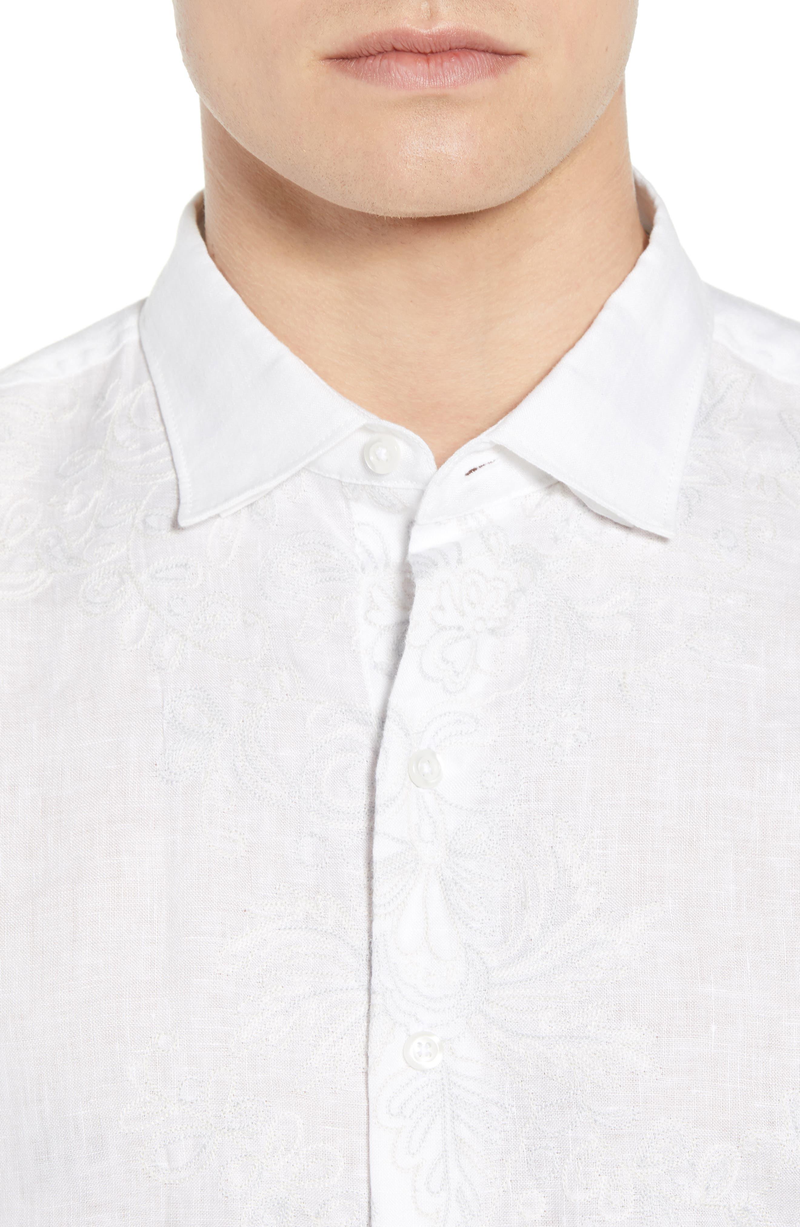 Get Your Groom On Linen Sport Shirt,                             Alternate thumbnail 2, color,                             White