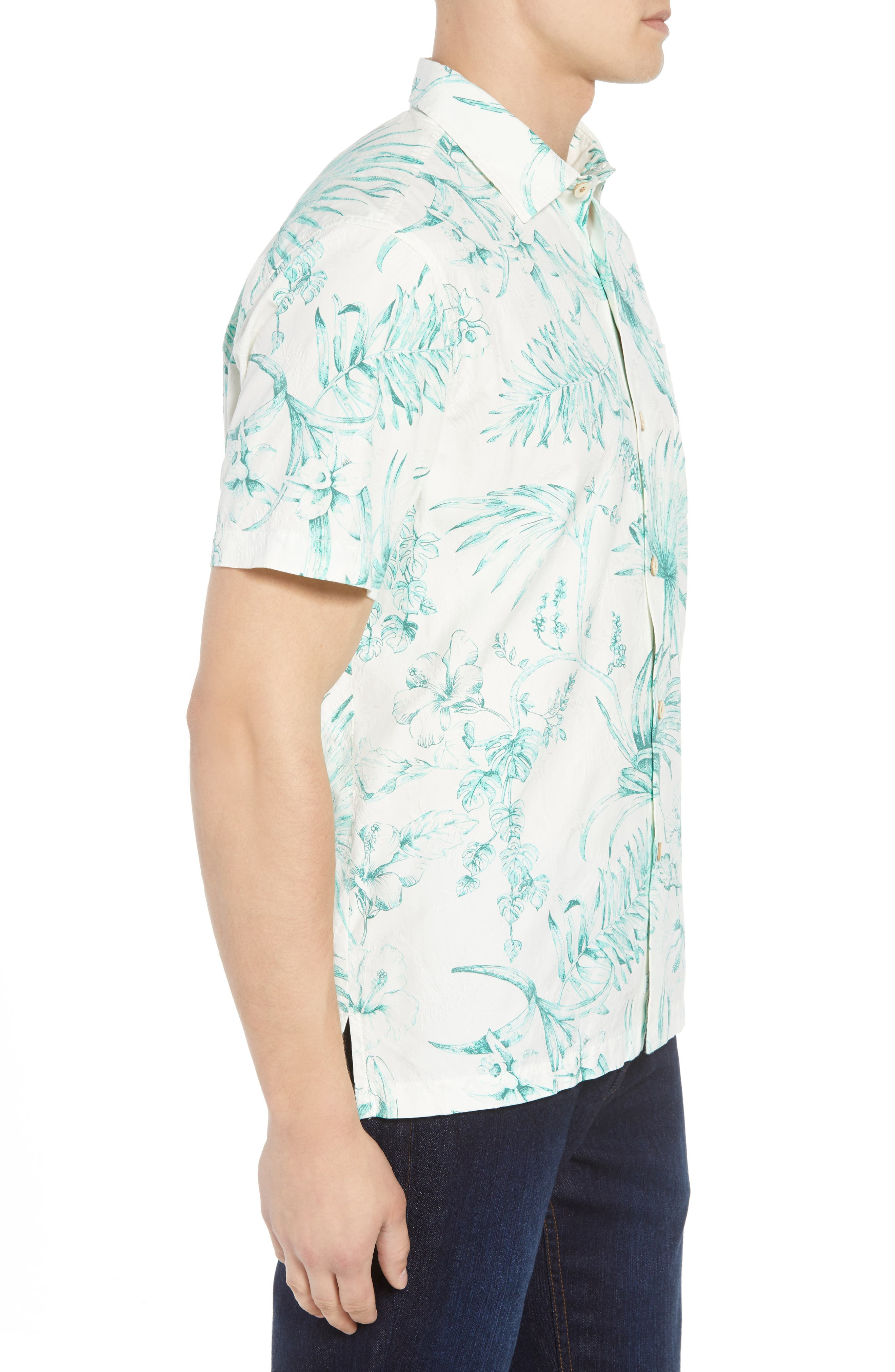 El Botanico Regular Fit Cotton & Silk Sport Shirt,                             Alternate thumbnail 4, color,                             Marble Cre