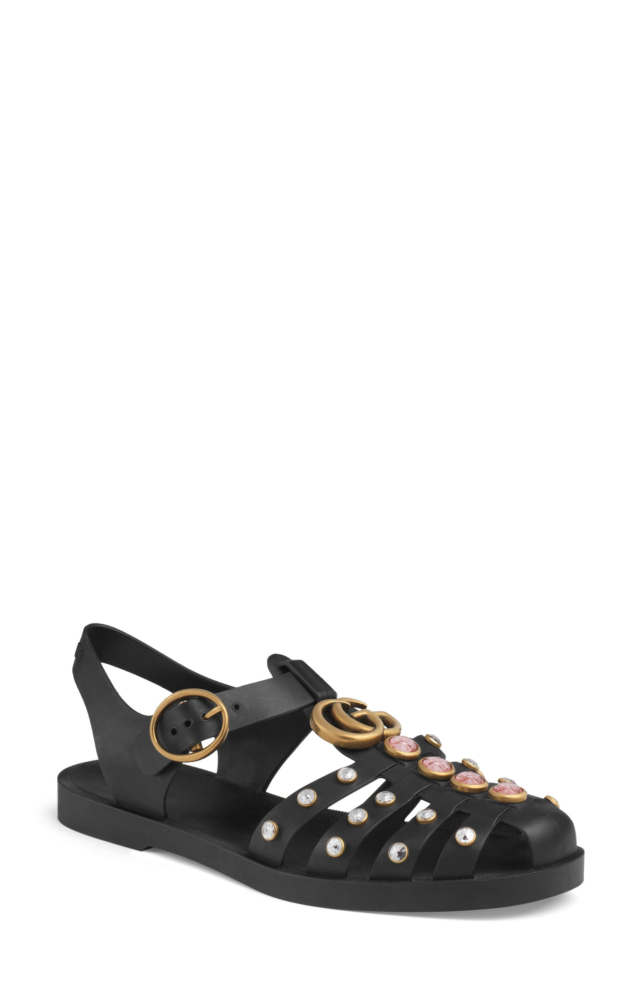 Gucci Marmont Crystal Embellished Fisherman Sandal (Women)