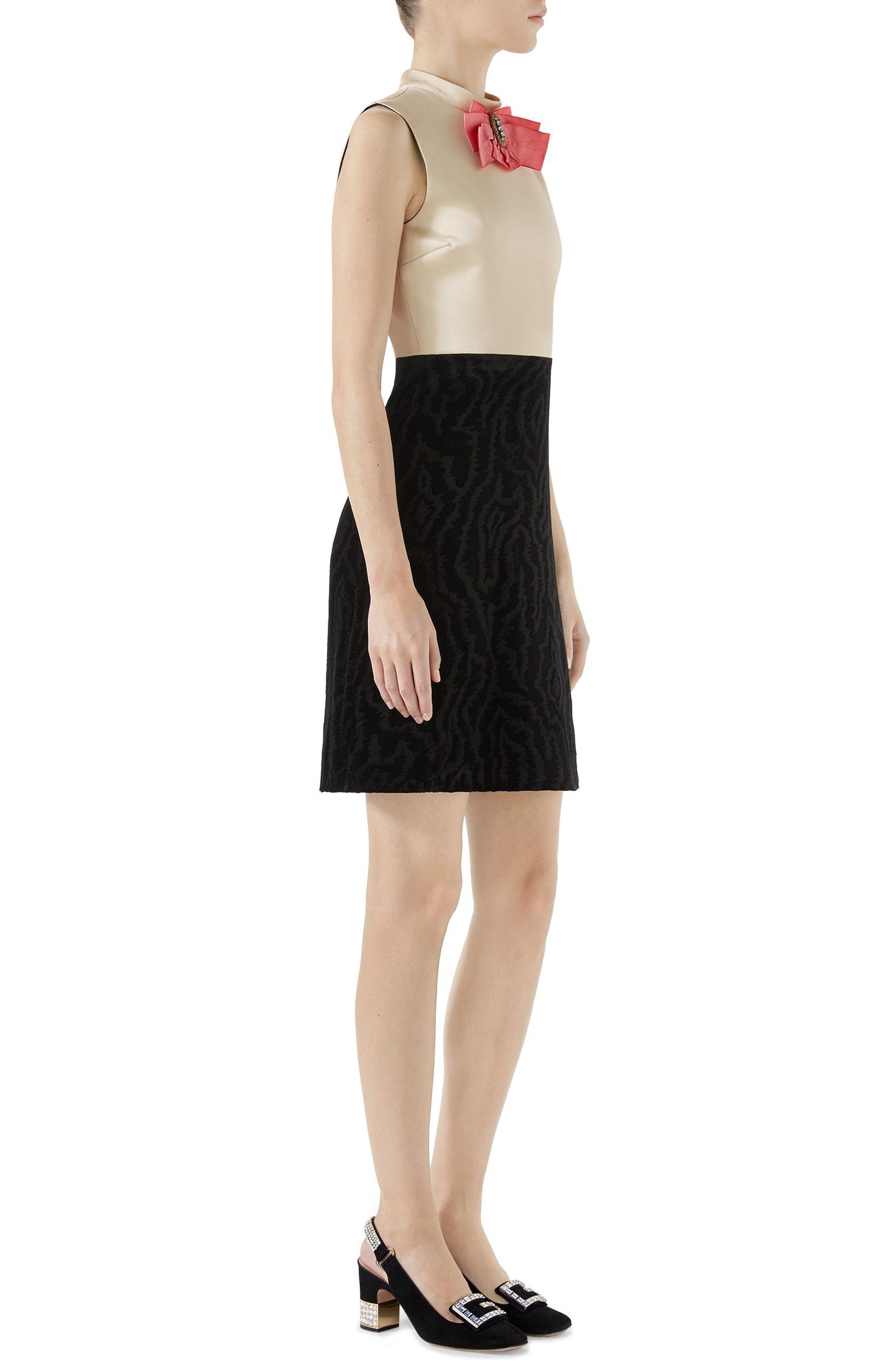 Bow Embellished Satin A-Line Dress,                             Alternate thumbnail 3, color,                             Black