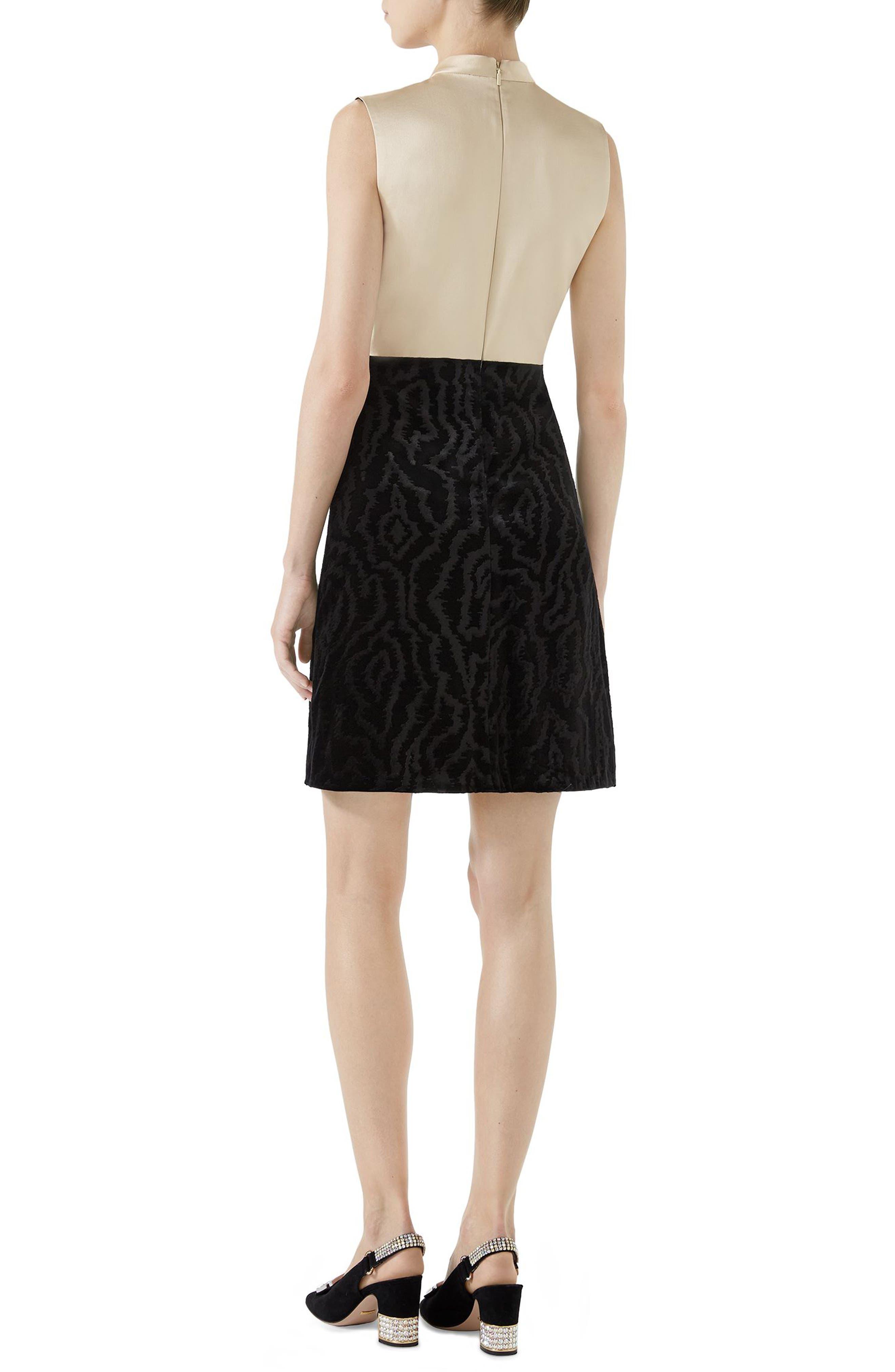 Bow Embellished Satin A-Line Dress,                             Alternate thumbnail 2, color,                             Black
