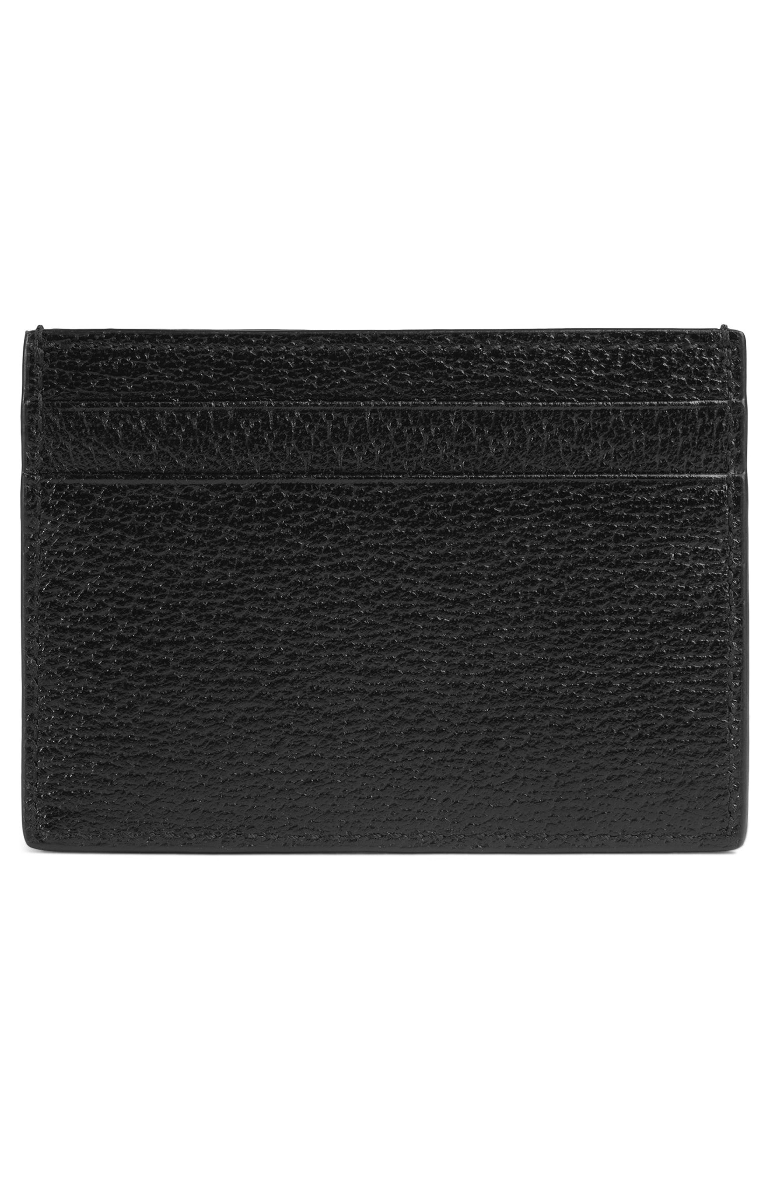 Bee Leather Card Case,                             Alternate thumbnail 3, color,                             Black