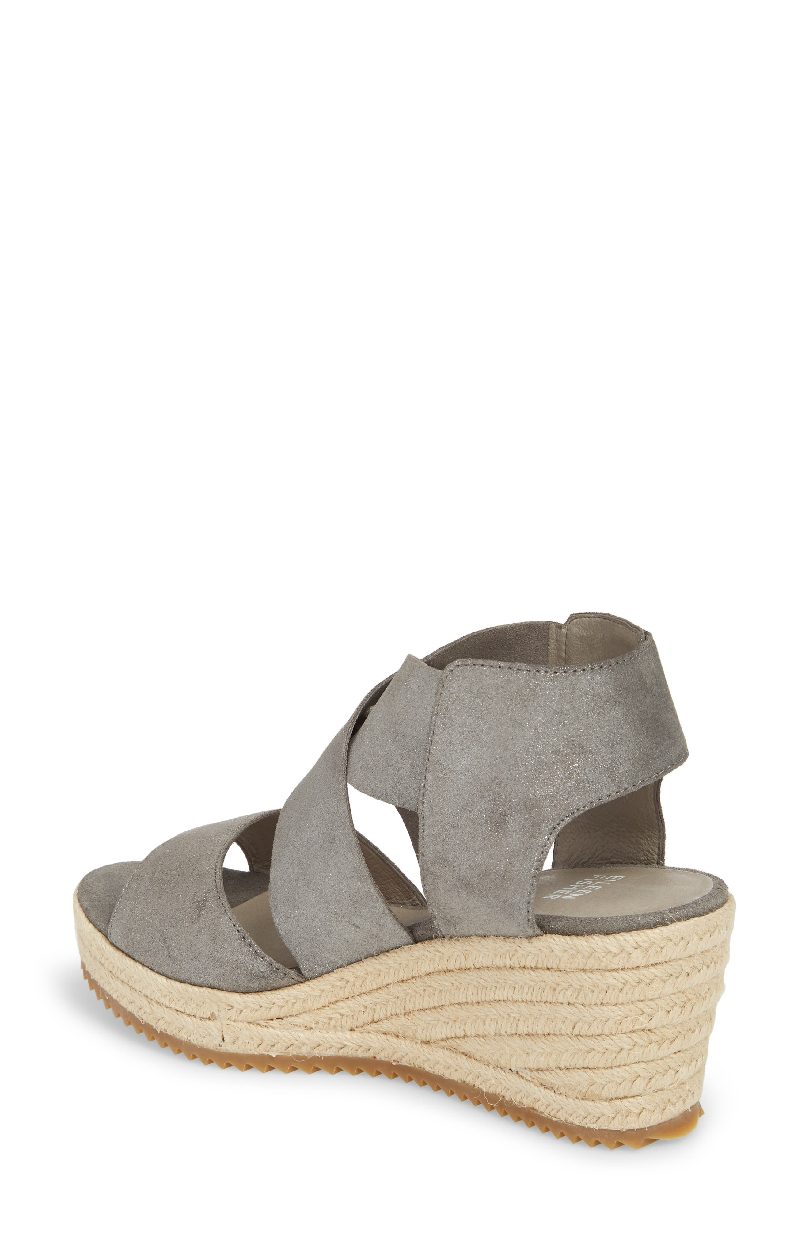 'Willow' Espadrille Wedge Sandal,                             Alternate thumbnail 2, color,                             Pewter Metallic Suede