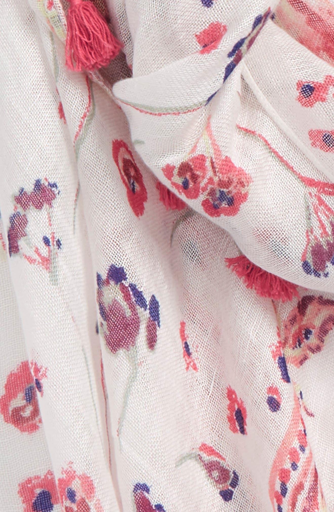 Tassel Scarf,                             Alternate thumbnail 3, color,                             White Pressed Flora