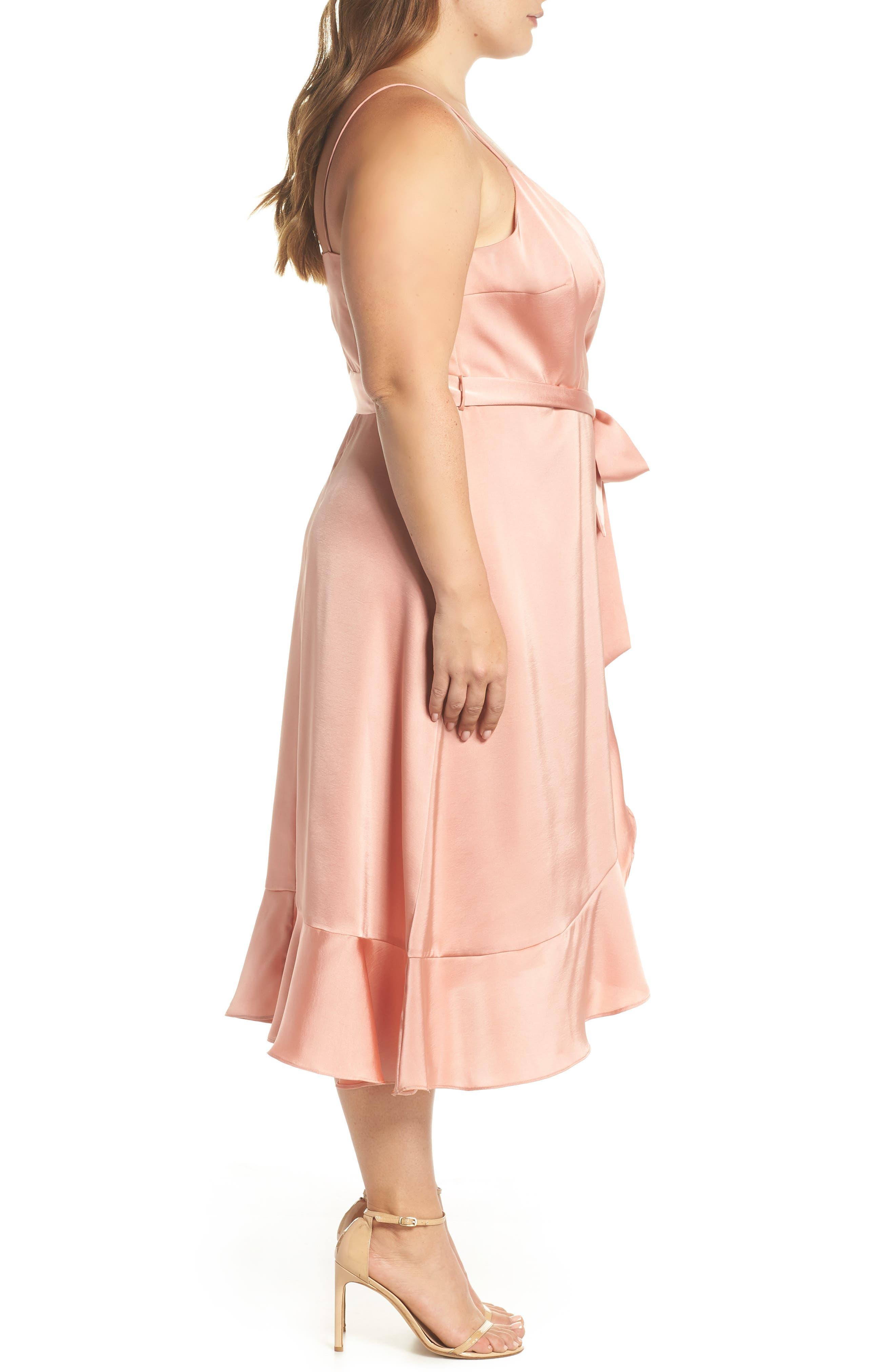 Marilyn Satin Faux Wrap Dress,                             Alternate thumbnail 6, color,                             Coral Haze