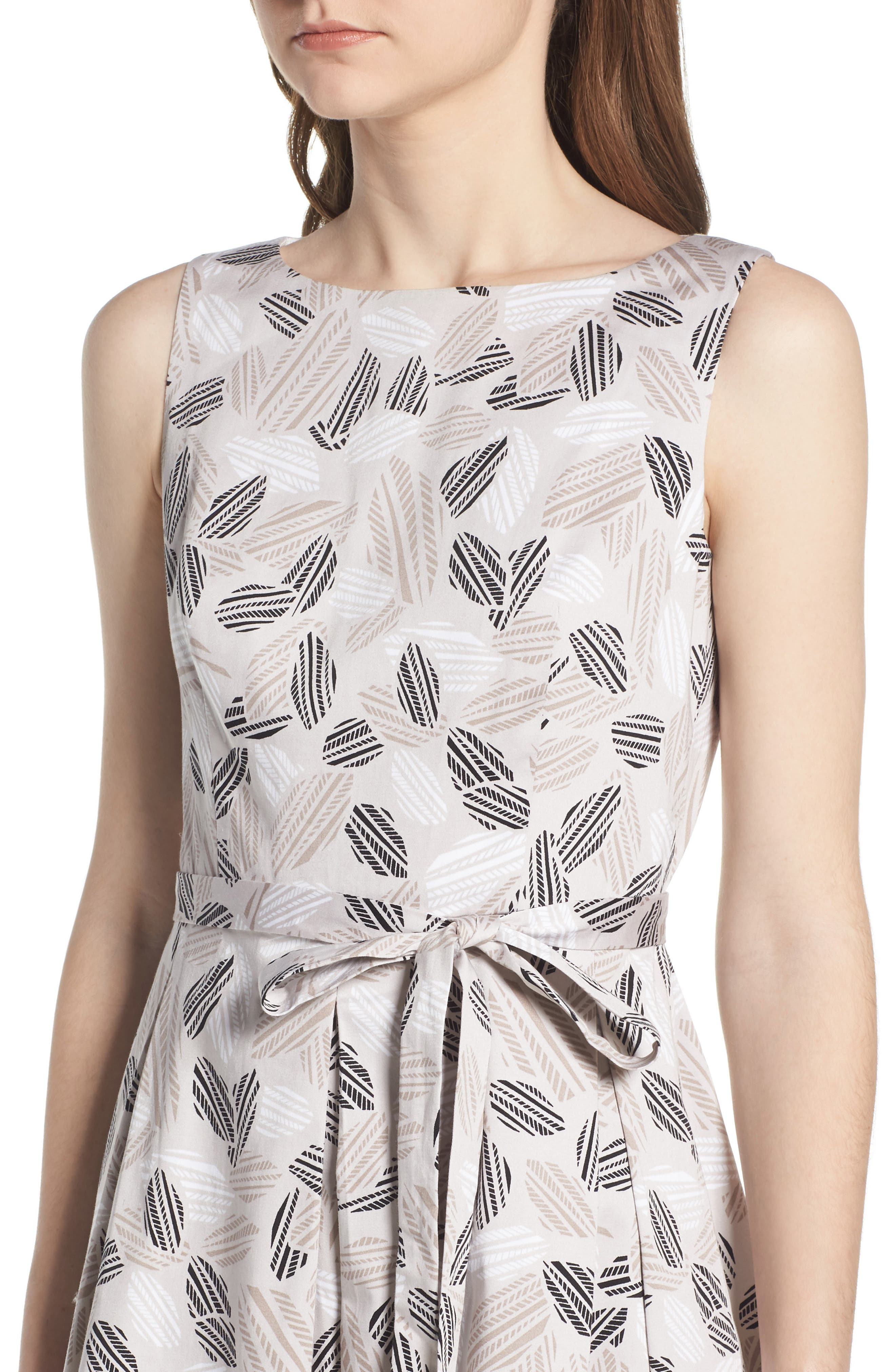 Leaf Print Fit And Flare Dress,                             Alternate thumbnail 4, color,                             Parchment/ Oyster Shell Combo
