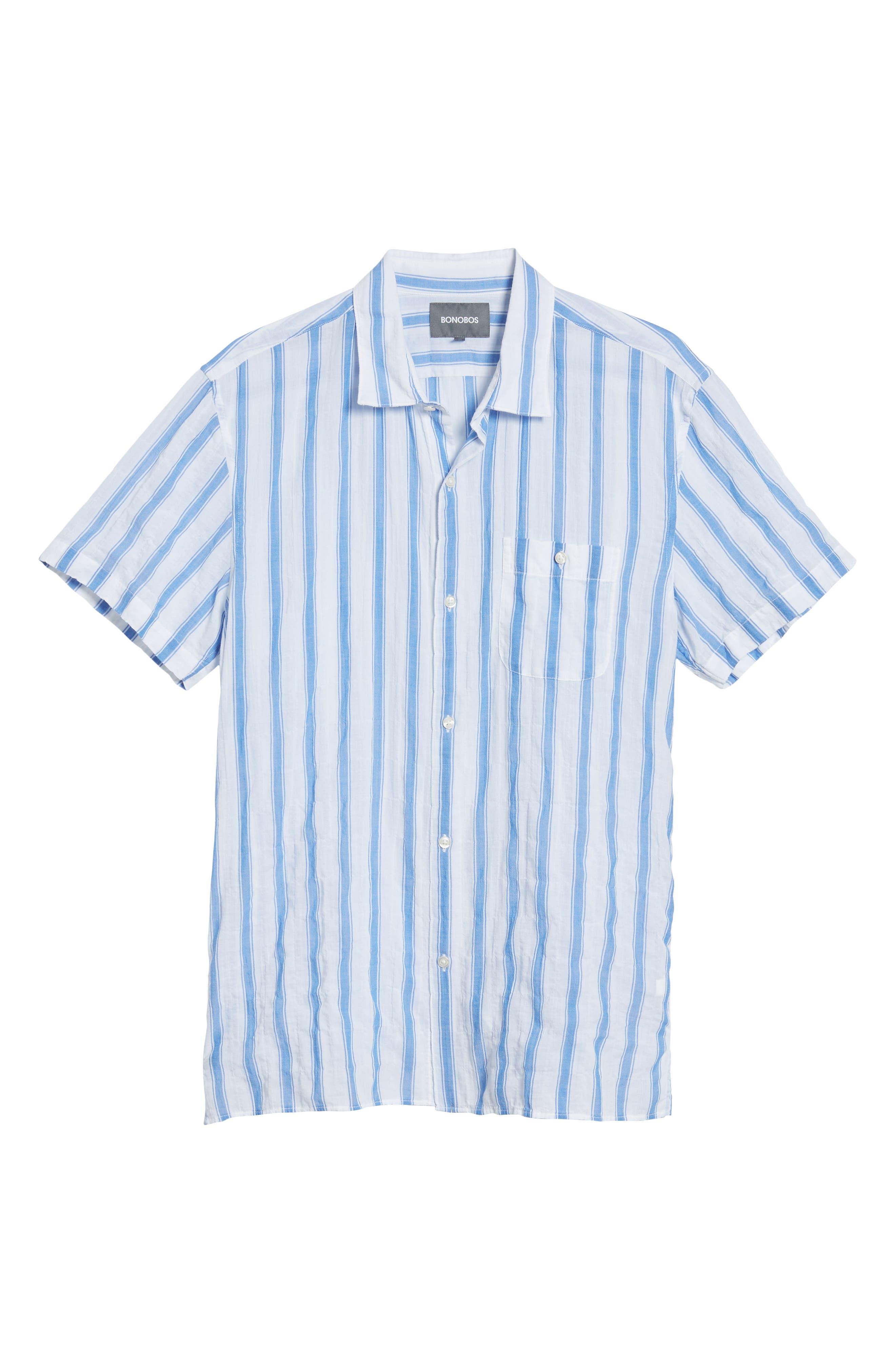 Beach Slim Fit Stripe Sport Shirt,                             Alternate thumbnail 6, color,                             Crinkle Polpis - Coast Azure