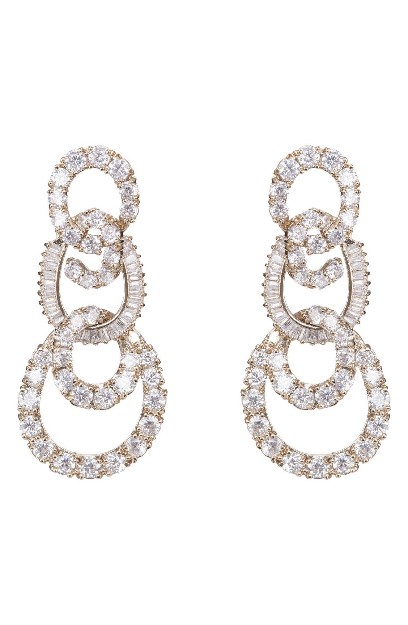 3-Tier Swirl Drop Earrings,                             Alternate thumbnail 3, color,                             White/ Gold