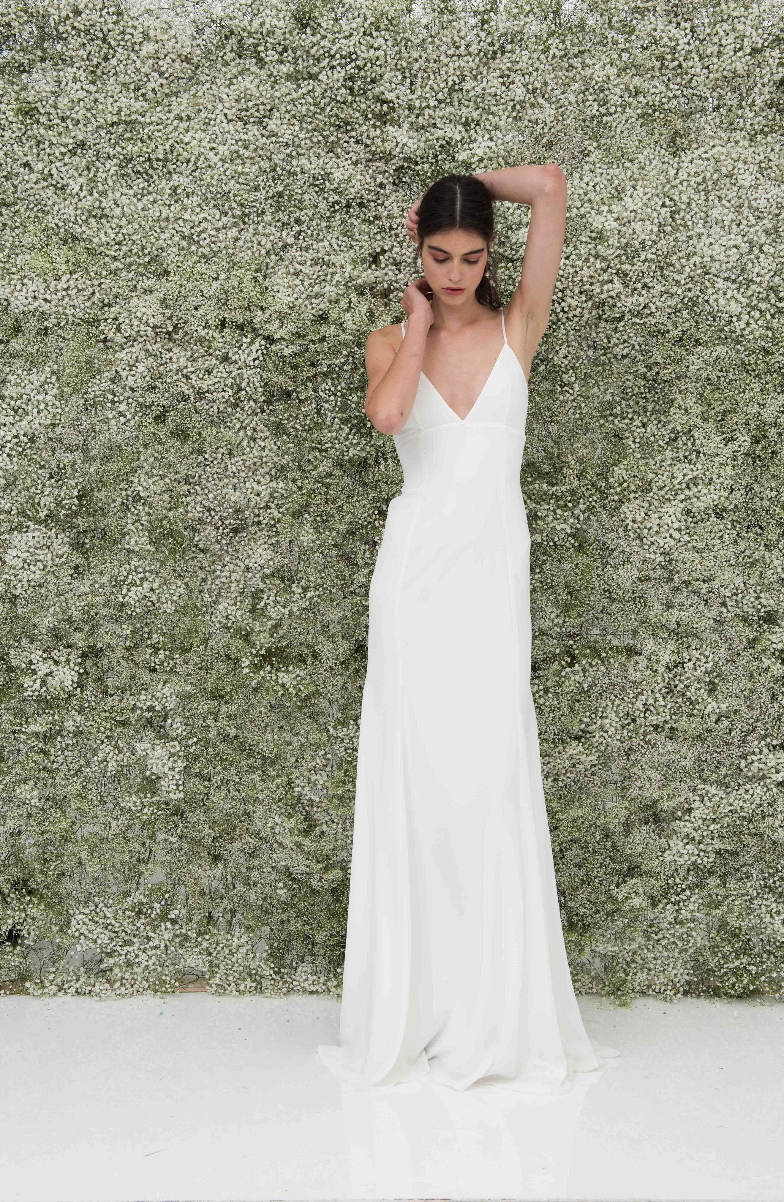 Crepe Mermaid Gown,                             Alternate thumbnail 9, color,                             White