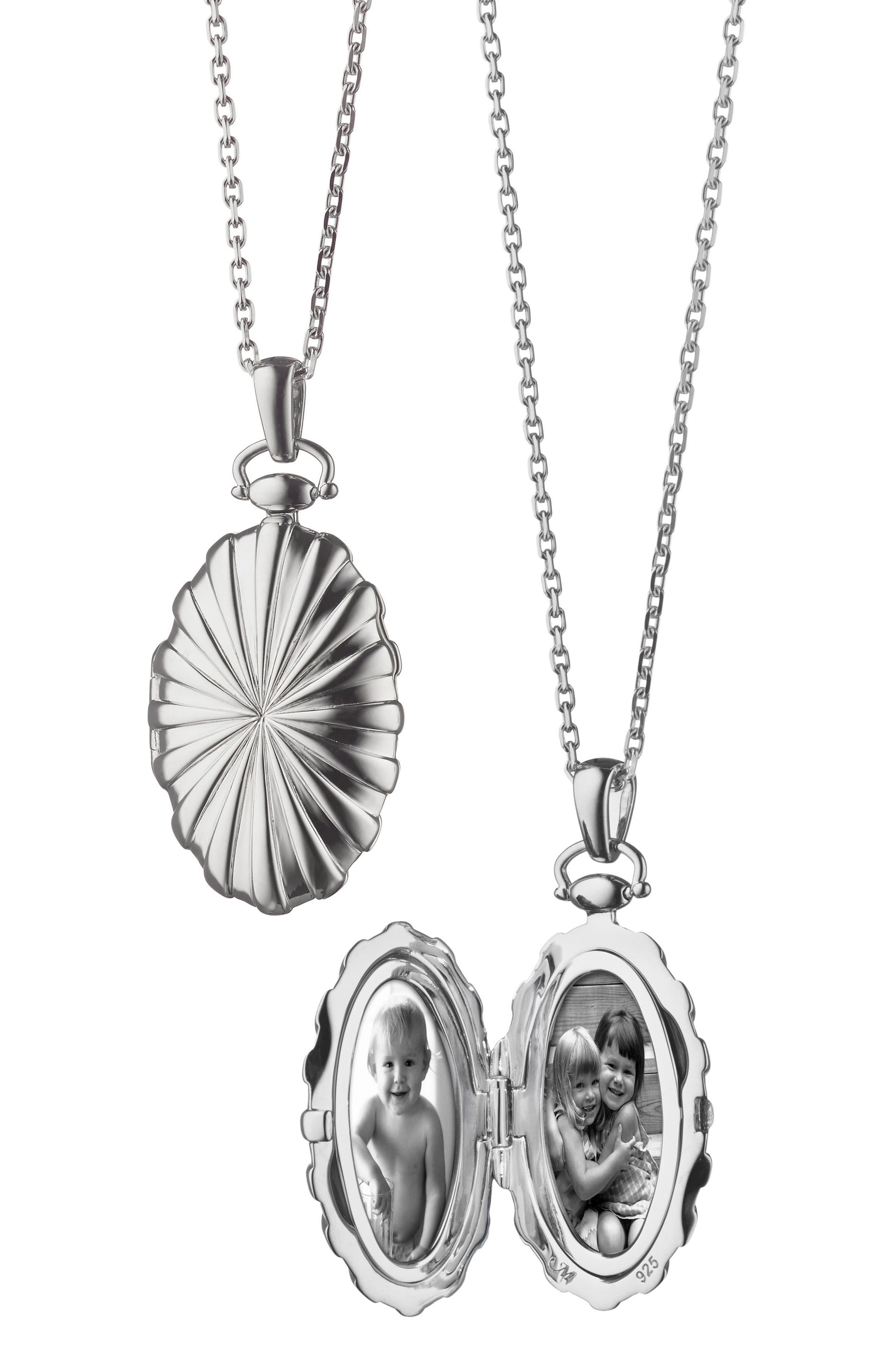 Sunburst Locket Necklace,                         Main,                         color, Sterling Silver