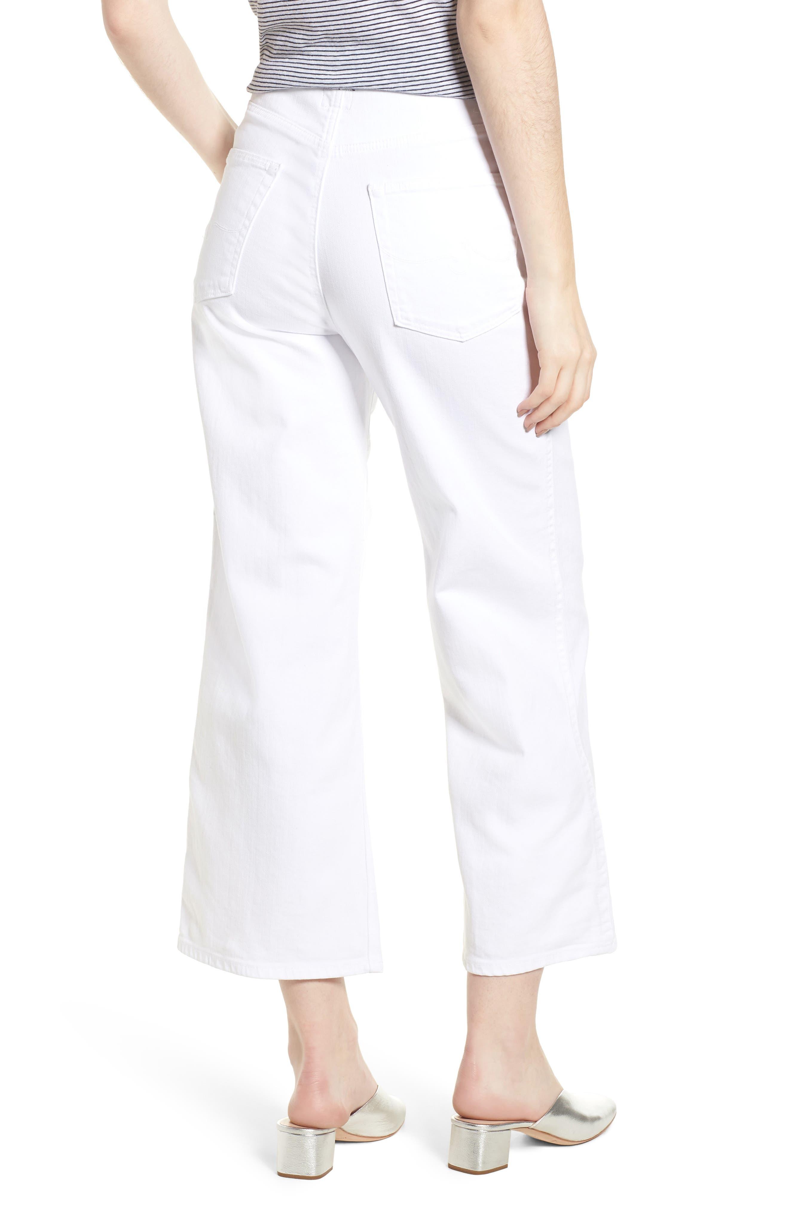 Etta High Waist Crop Wide Leg Jeans,                             Alternate thumbnail 2, color,                             White