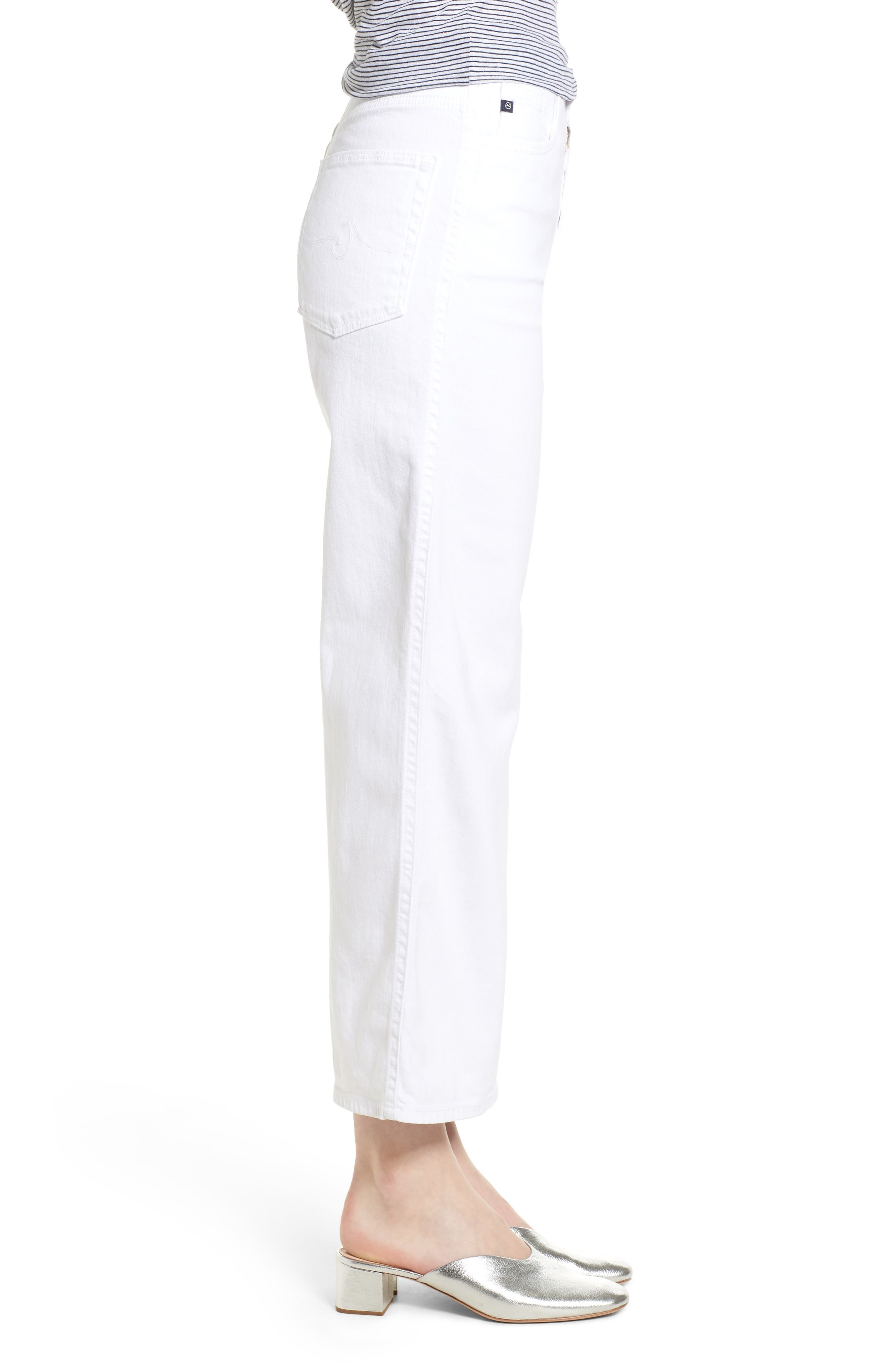 Etta High Waist Crop Wide Leg Jeans,                             Alternate thumbnail 3, color,                             White