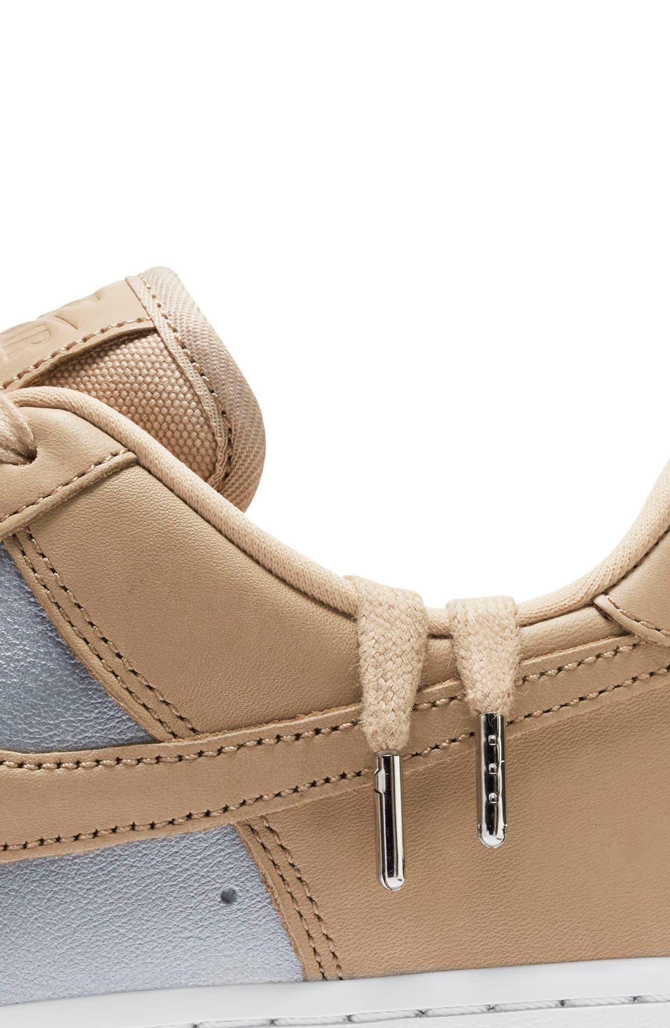 Air Force 1 '07 SE Premium Sneaker,                             Alternate thumbnail 5, color,                             Beige/ Silver/ White