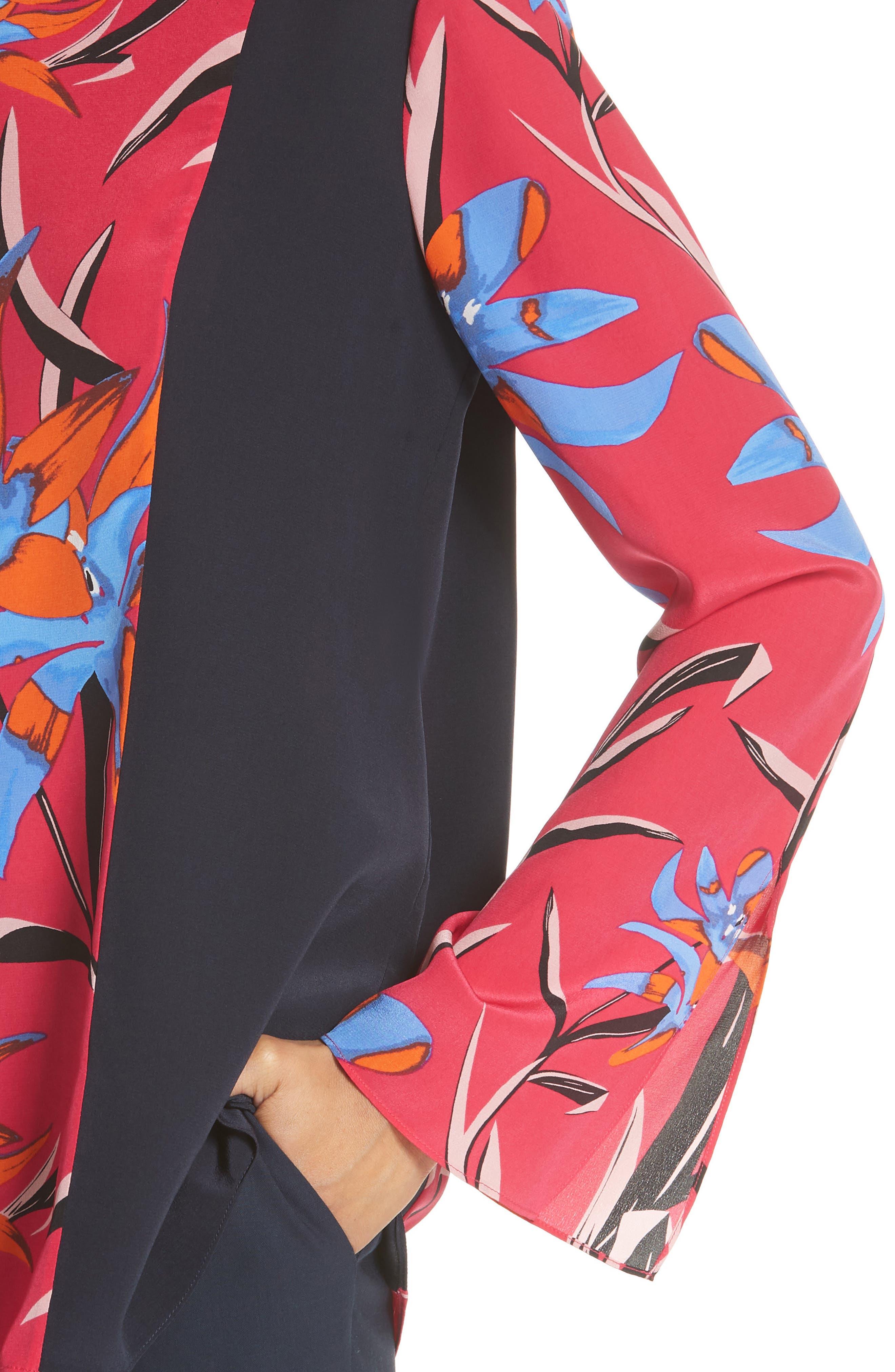 Diane von Furstenberg Side Slit Silk Blouse,                             Alternate thumbnail 4, color,                             Harlow Magenta/Alexander Navy