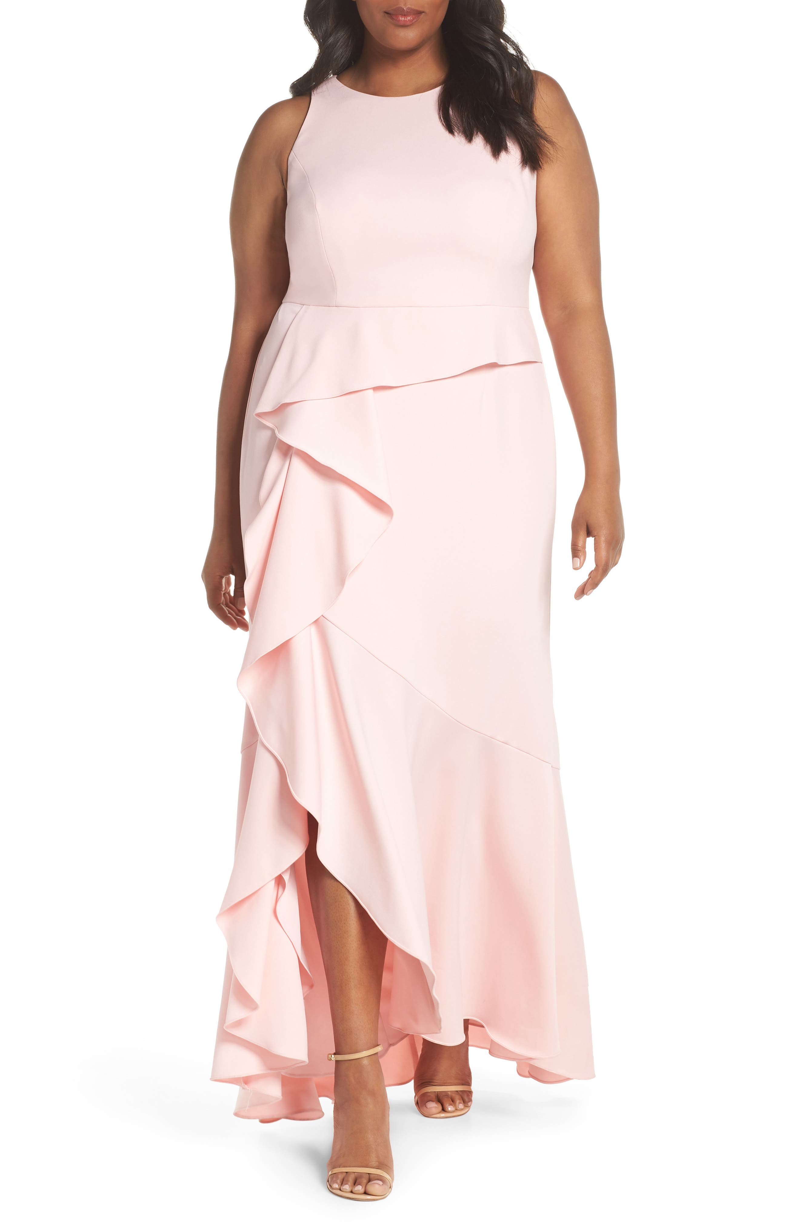 Cascade Crepe Gown,                         Main,                         color, Pale Shell