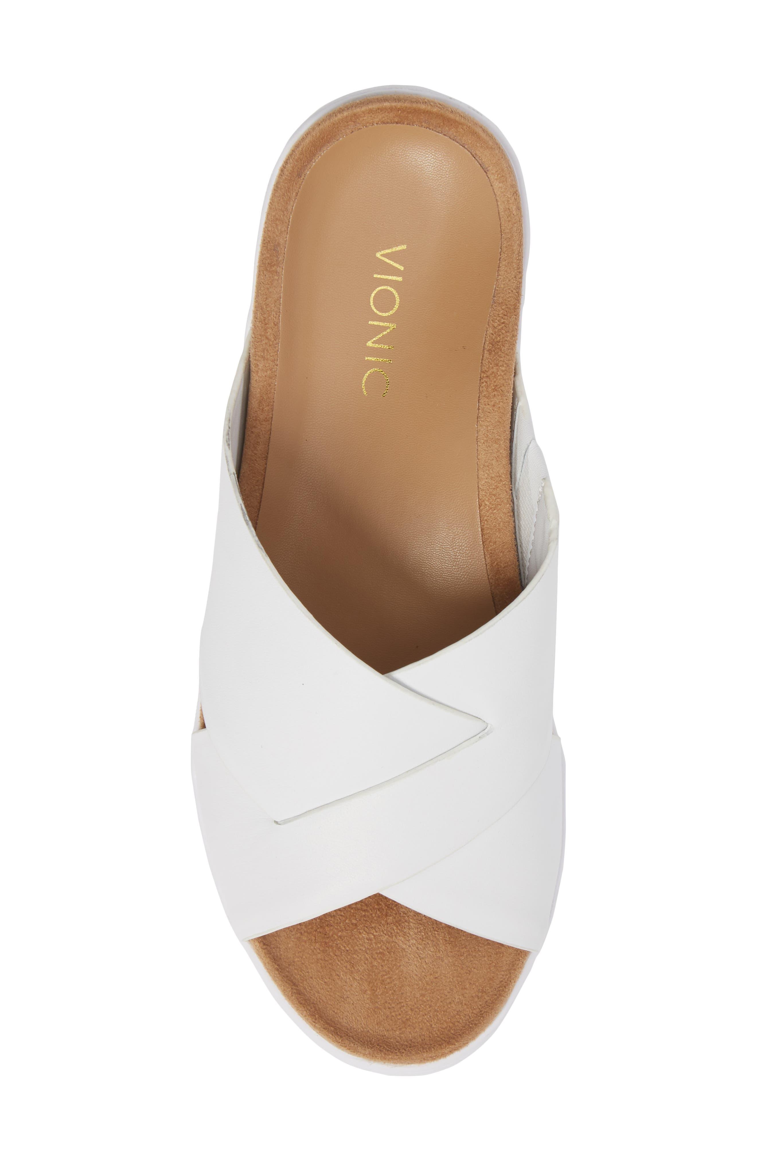 Lou Slide Sandal,                             Alternate thumbnail 5, color,                             White Leather