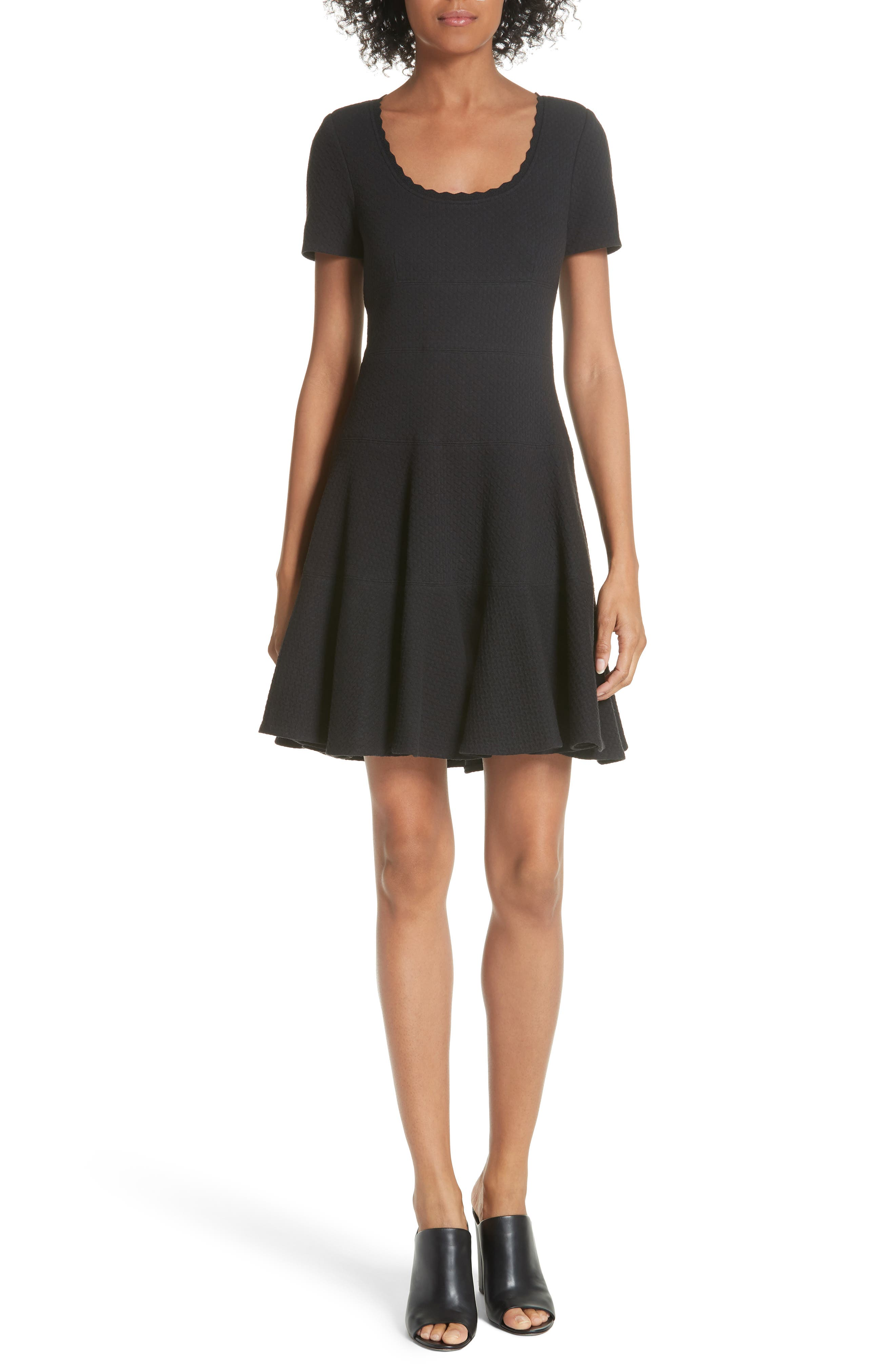 Textured Stretch Cotton Fit & Flare Dress,                             Main thumbnail 1, color,                             Black