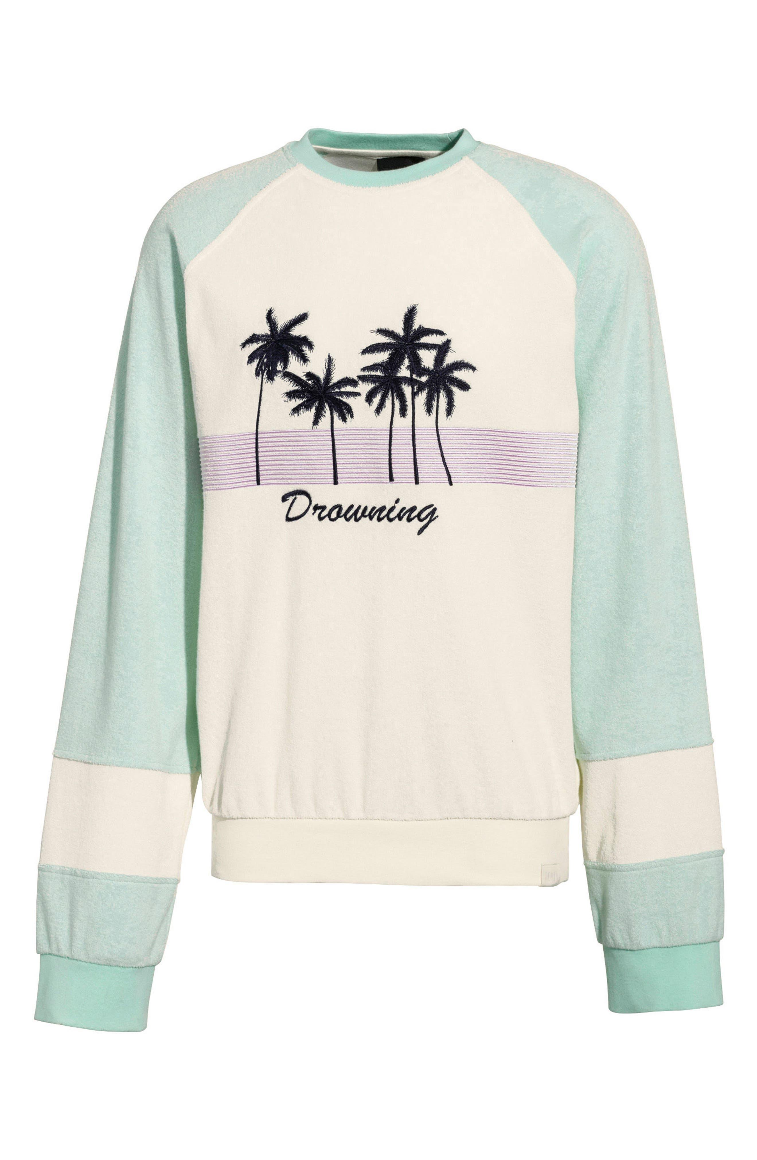 PUMA by Rihanna Palm Graphic Terry Cloth Sweater,                             Main thumbnail 1, color,                             Vanilla Ice