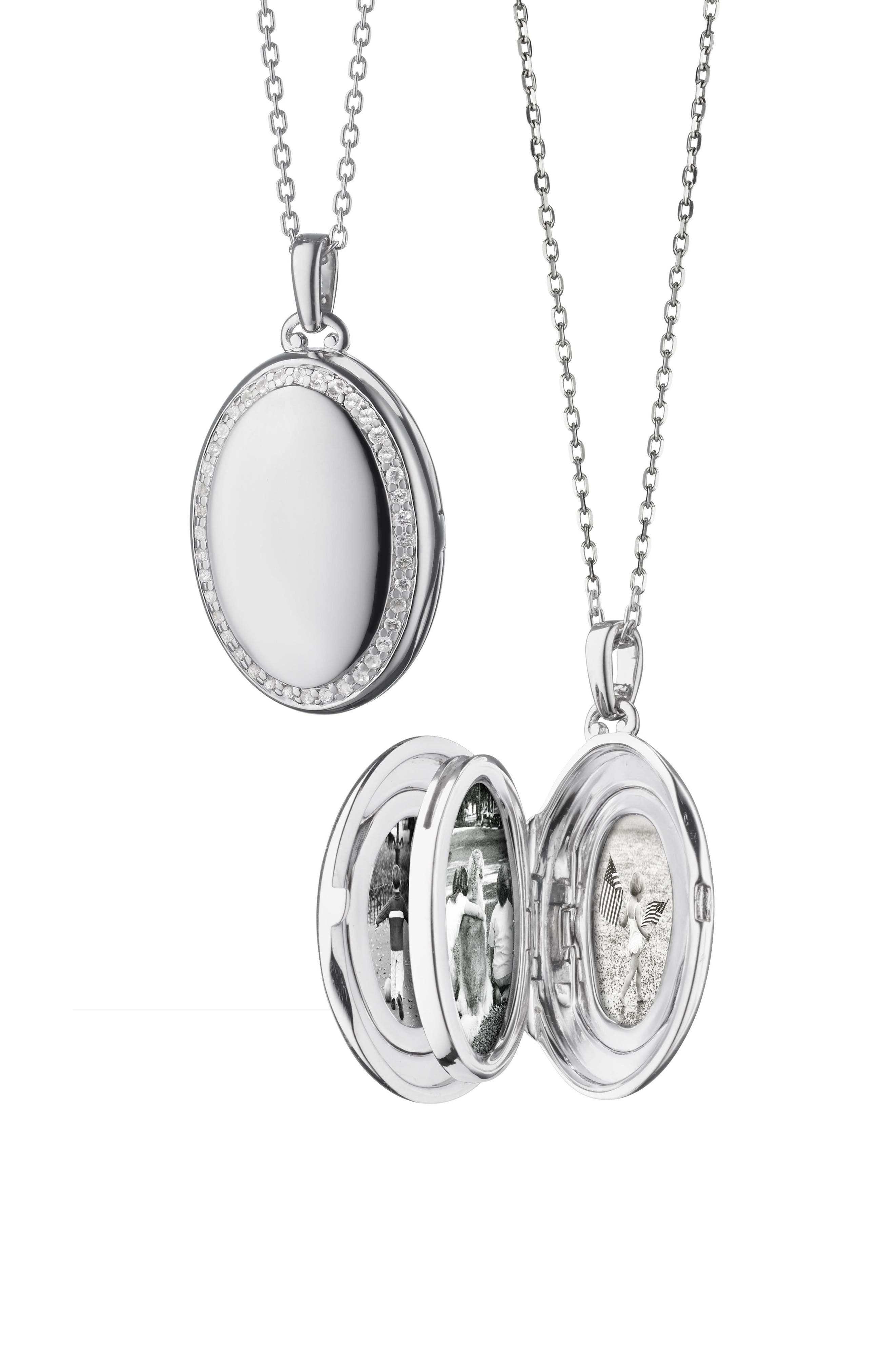 Four Image White Sapphire Locket Necklace,                             Main thumbnail 1, color,                             Sterling Silver