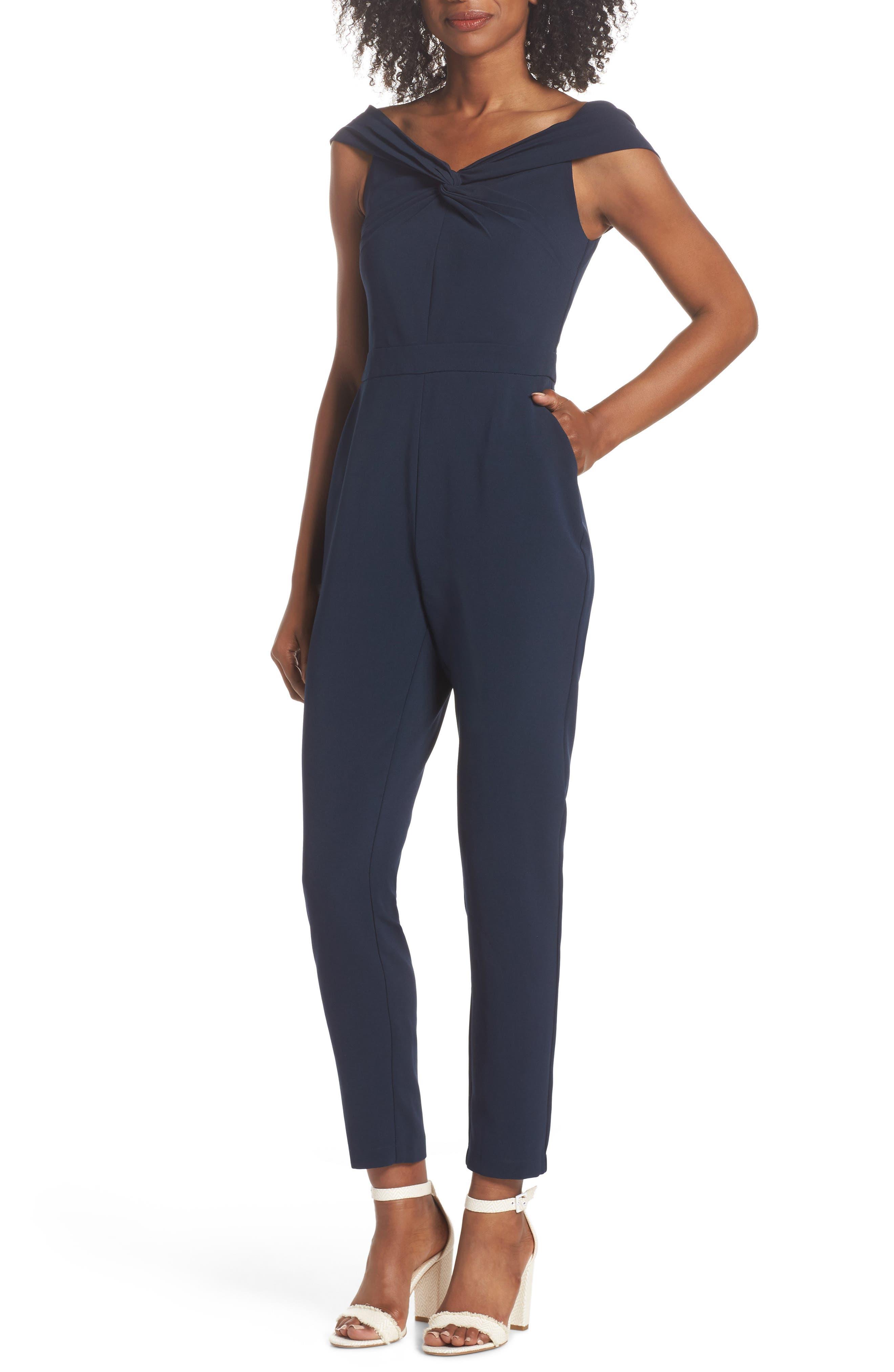 Karlie Off the Shoulder Jumpsuit,                         Main,                         color, Navy