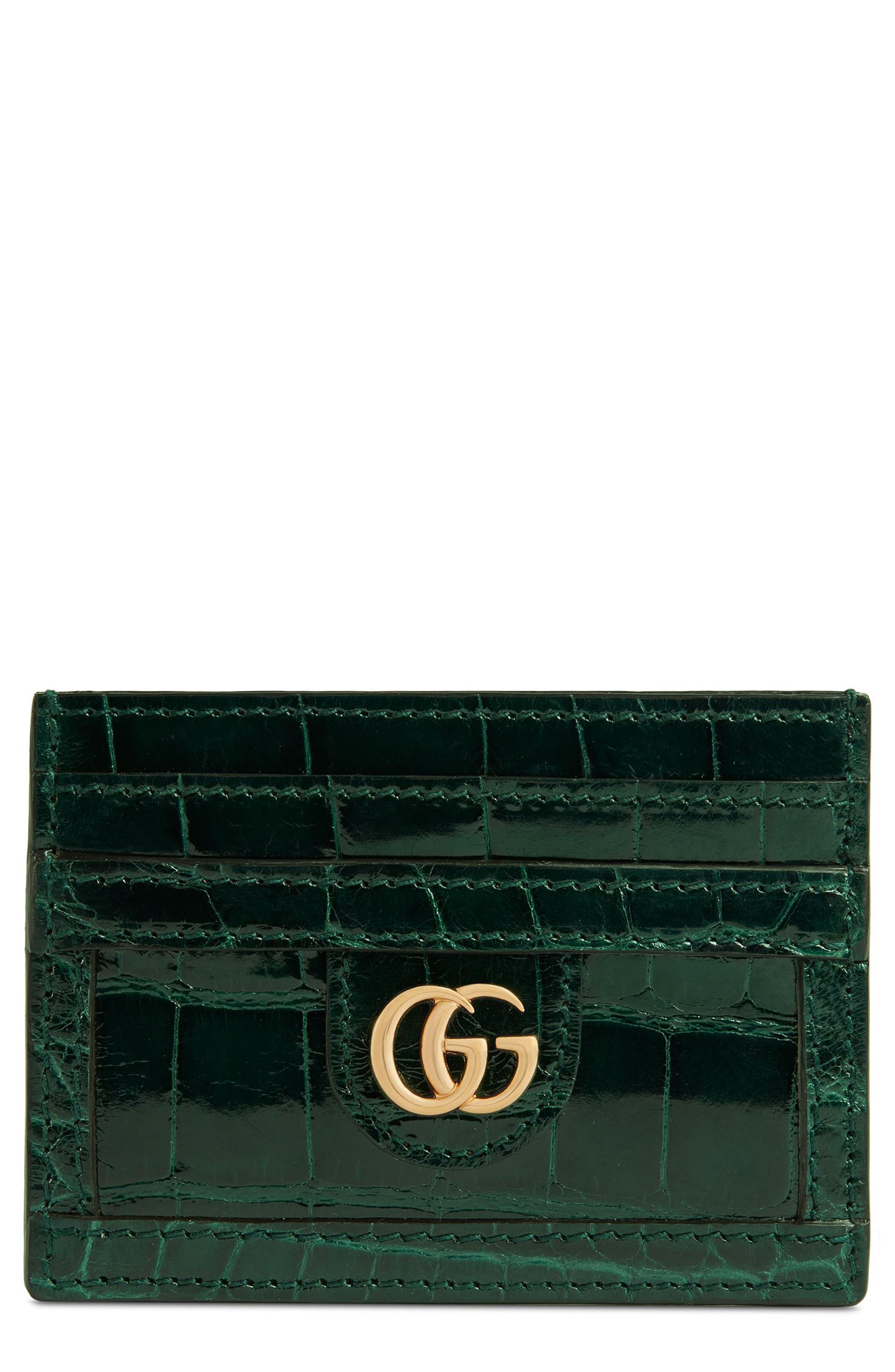 Ophidia Genuine Crocodile Card Case,                         Main,                         color, Verde