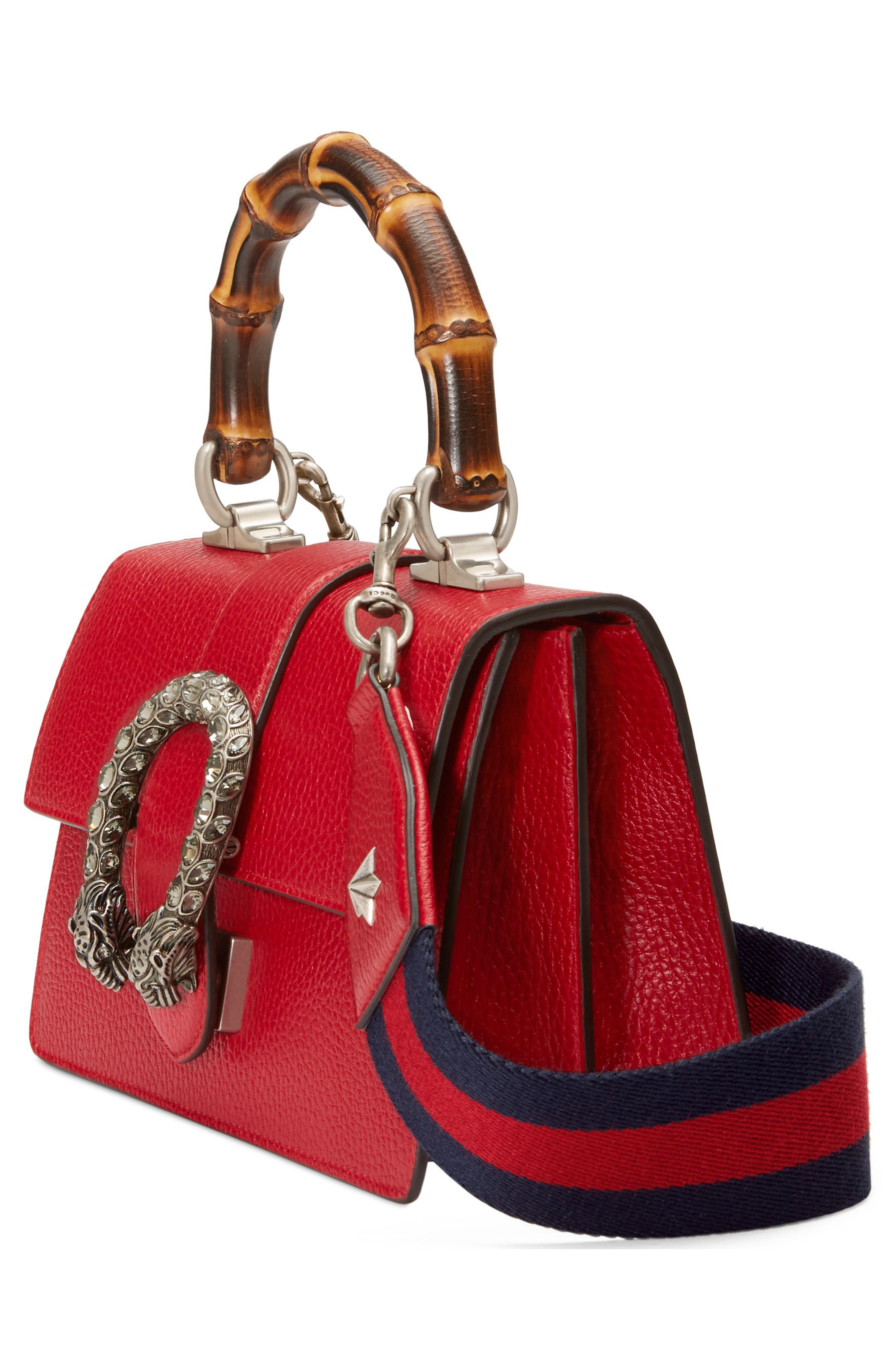 Mini Dionysus Leather Top Handle Satchel,                             Alternate thumbnail 4, color,                             Red/ Blue/ Black Diamond