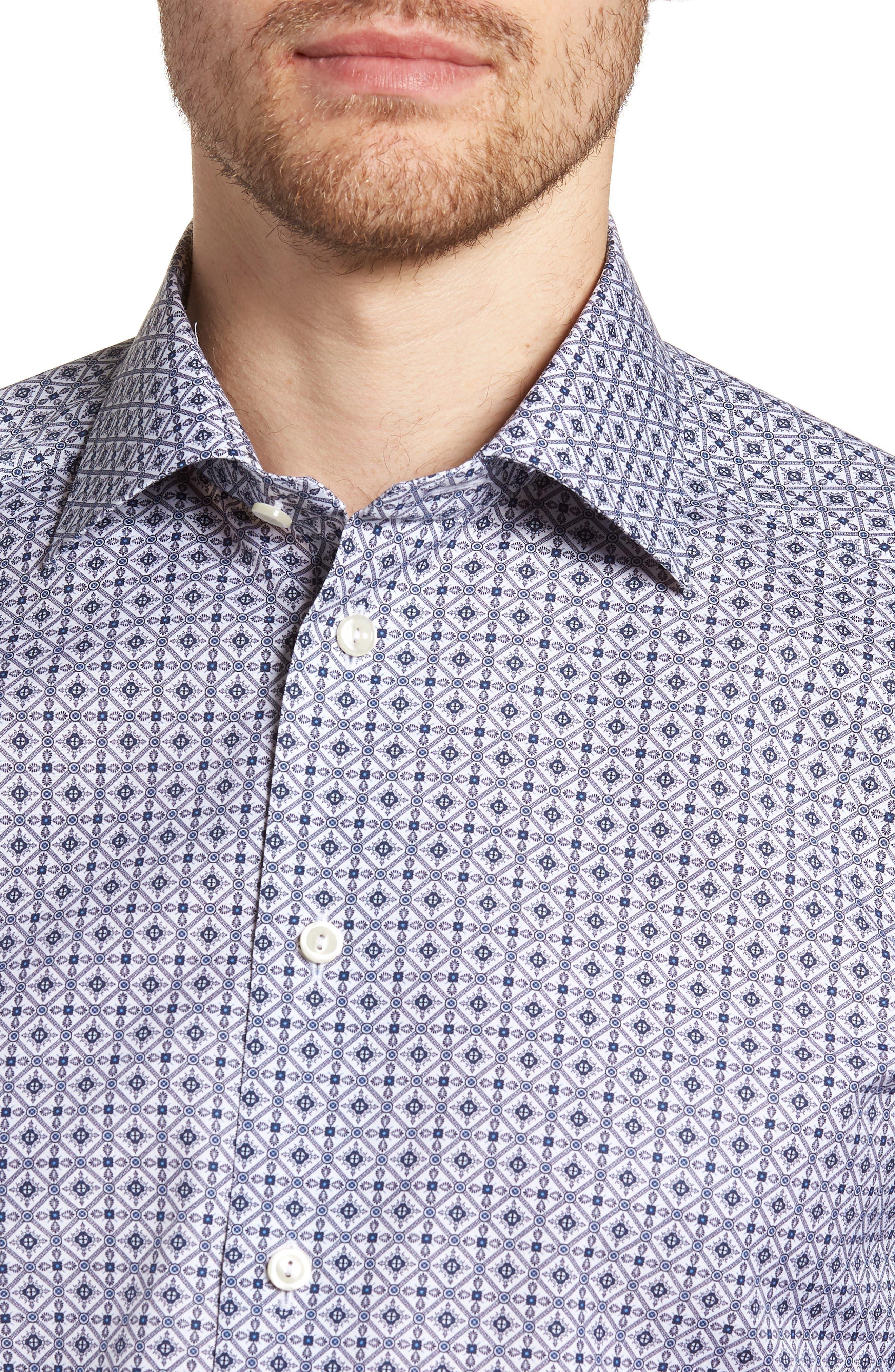 Slim Fit Medallion Print Dress Shirt,                             Alternate thumbnail 2, color,                             Blue