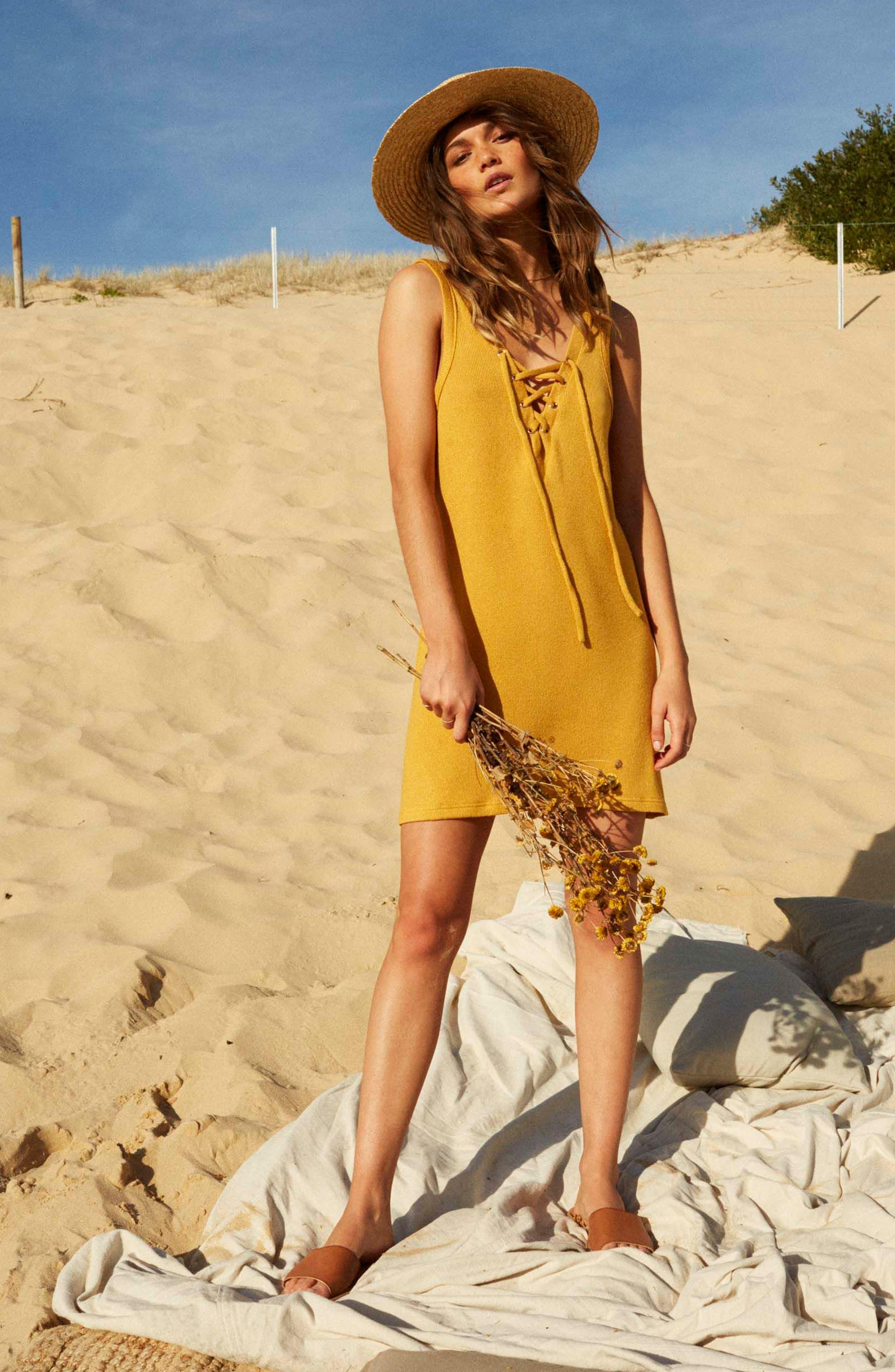 Heat Rising Lace-Up Dress,                             Alternate thumbnail 2, color,                             Saffron