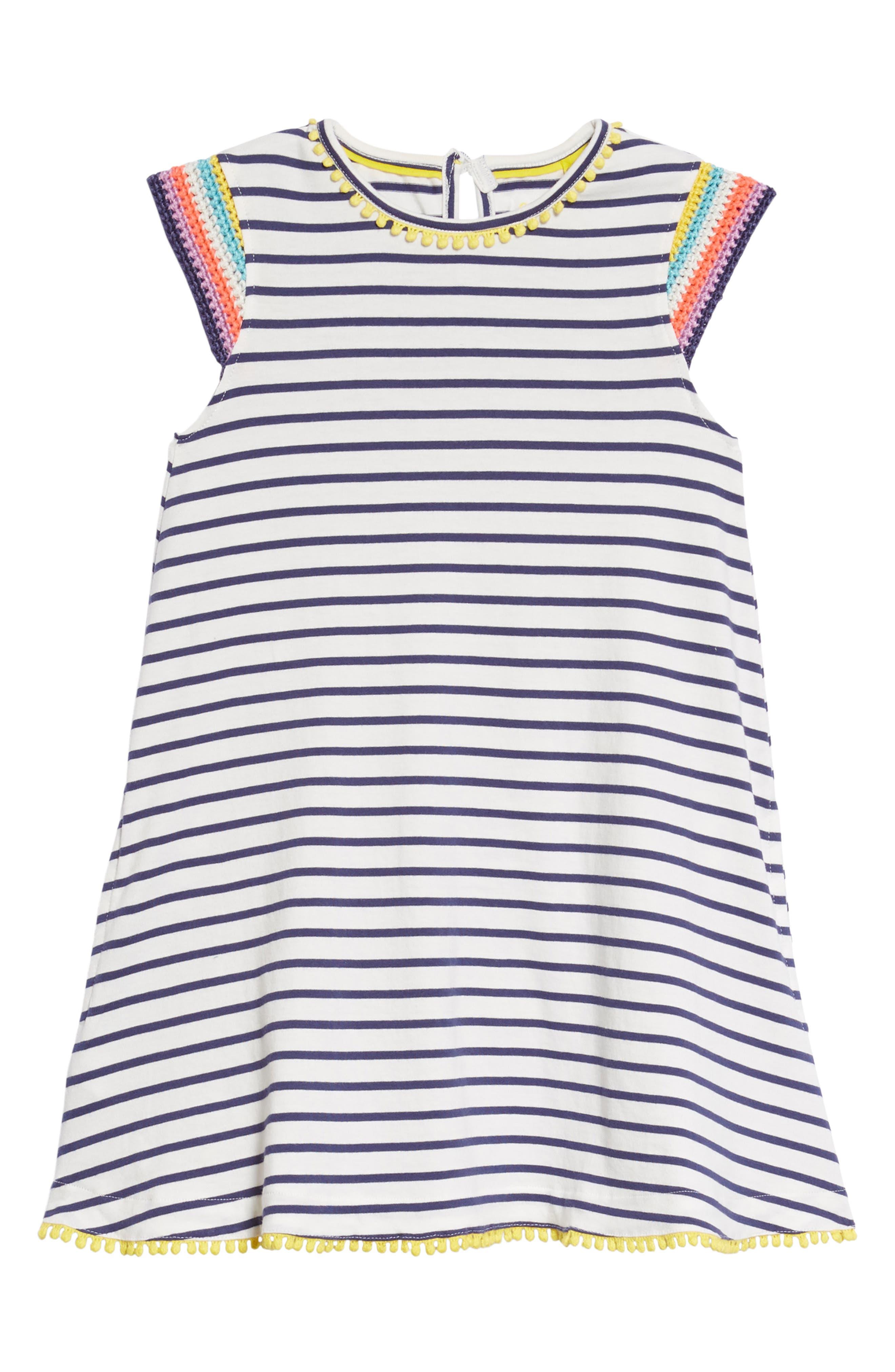 Crochet Sleeve Sundress,                             Main thumbnail 1, color,                             Ivory/ Starboard Blue