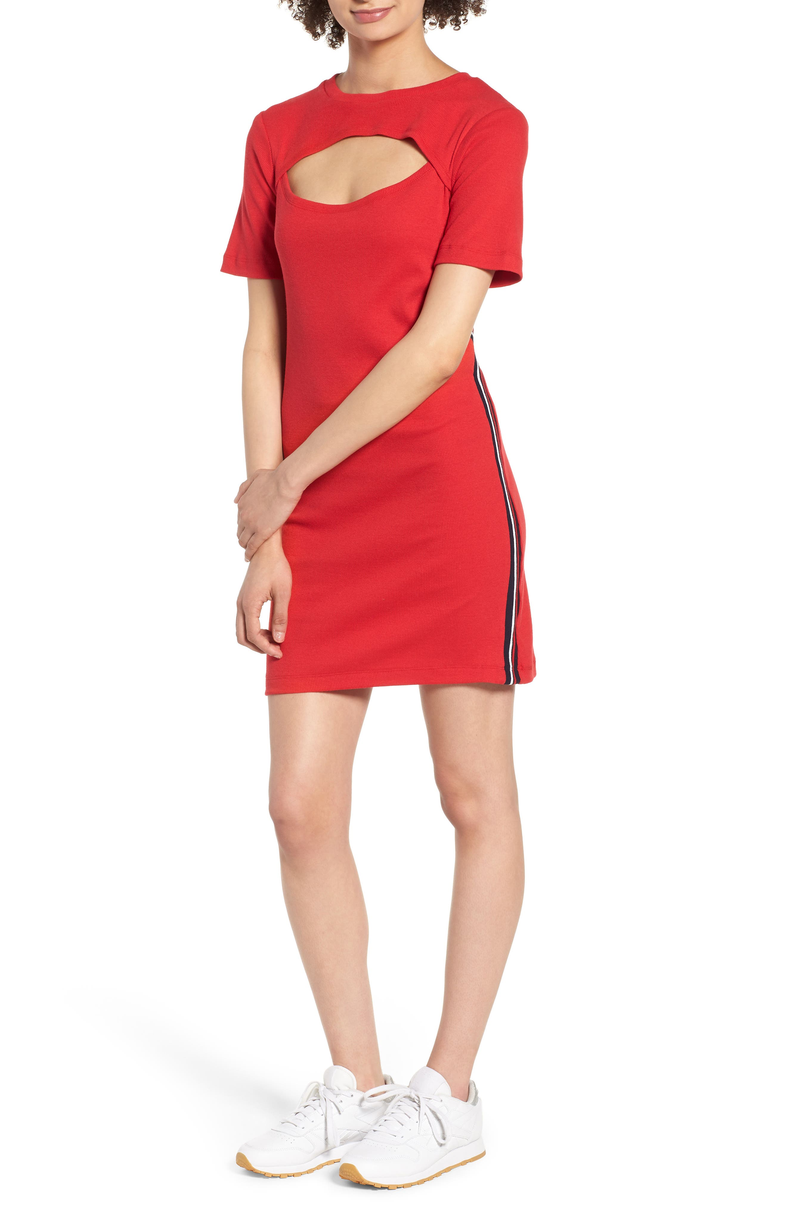 Cutout Dress,                         Main,                         color, Red