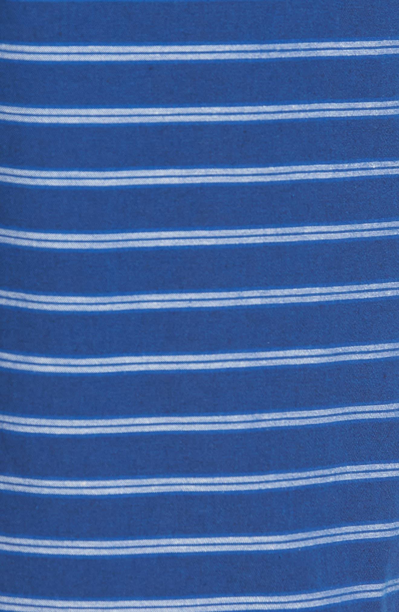 Slim Fit Stripe Beach Shorts,                             Alternate thumbnail 5, color,                             Blue Stripe
