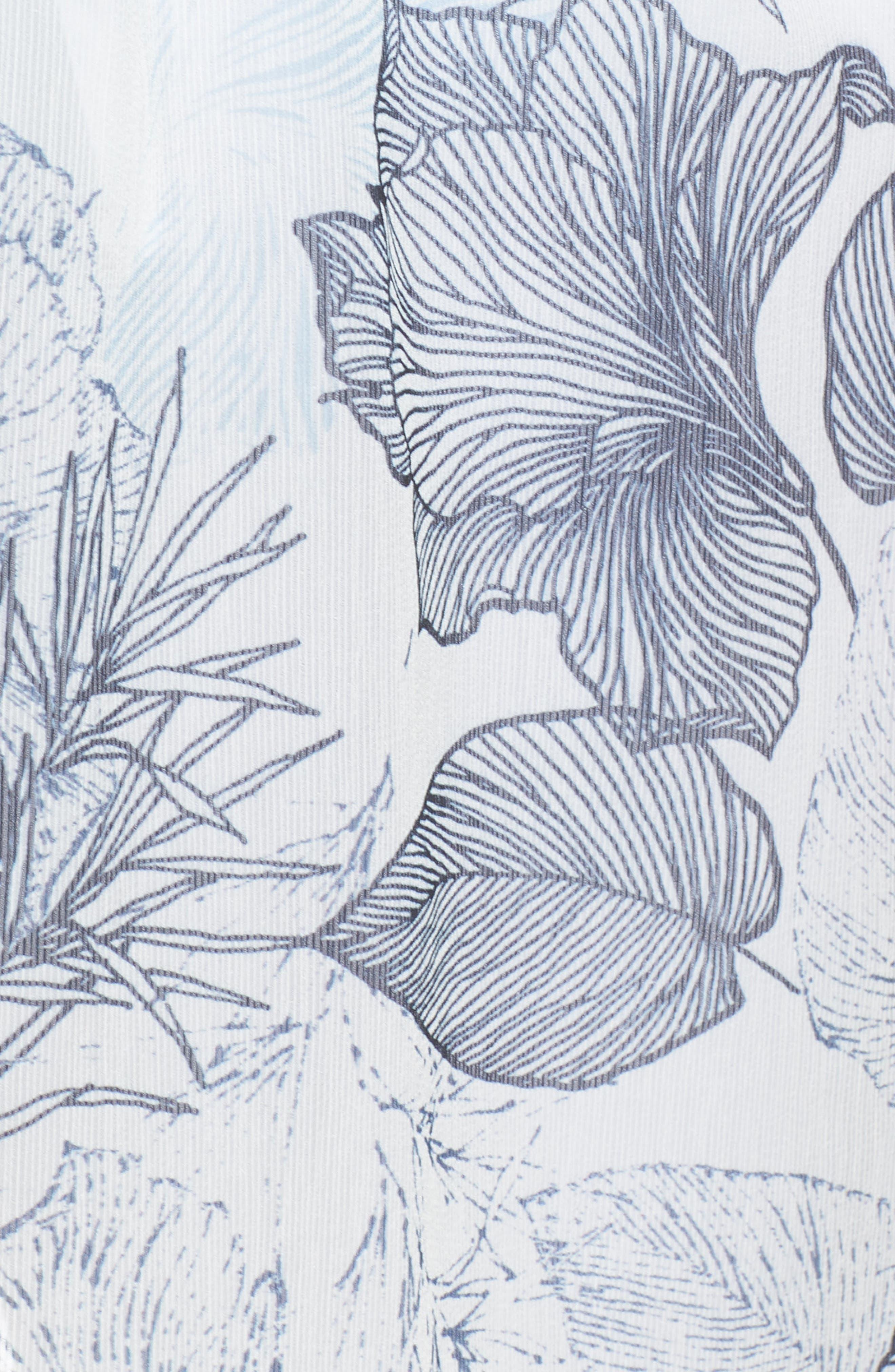 Flutter Sleeve Floral Chiffon Shirt Tunic,                             Alternate thumbnail 6, color,                             Ultra White