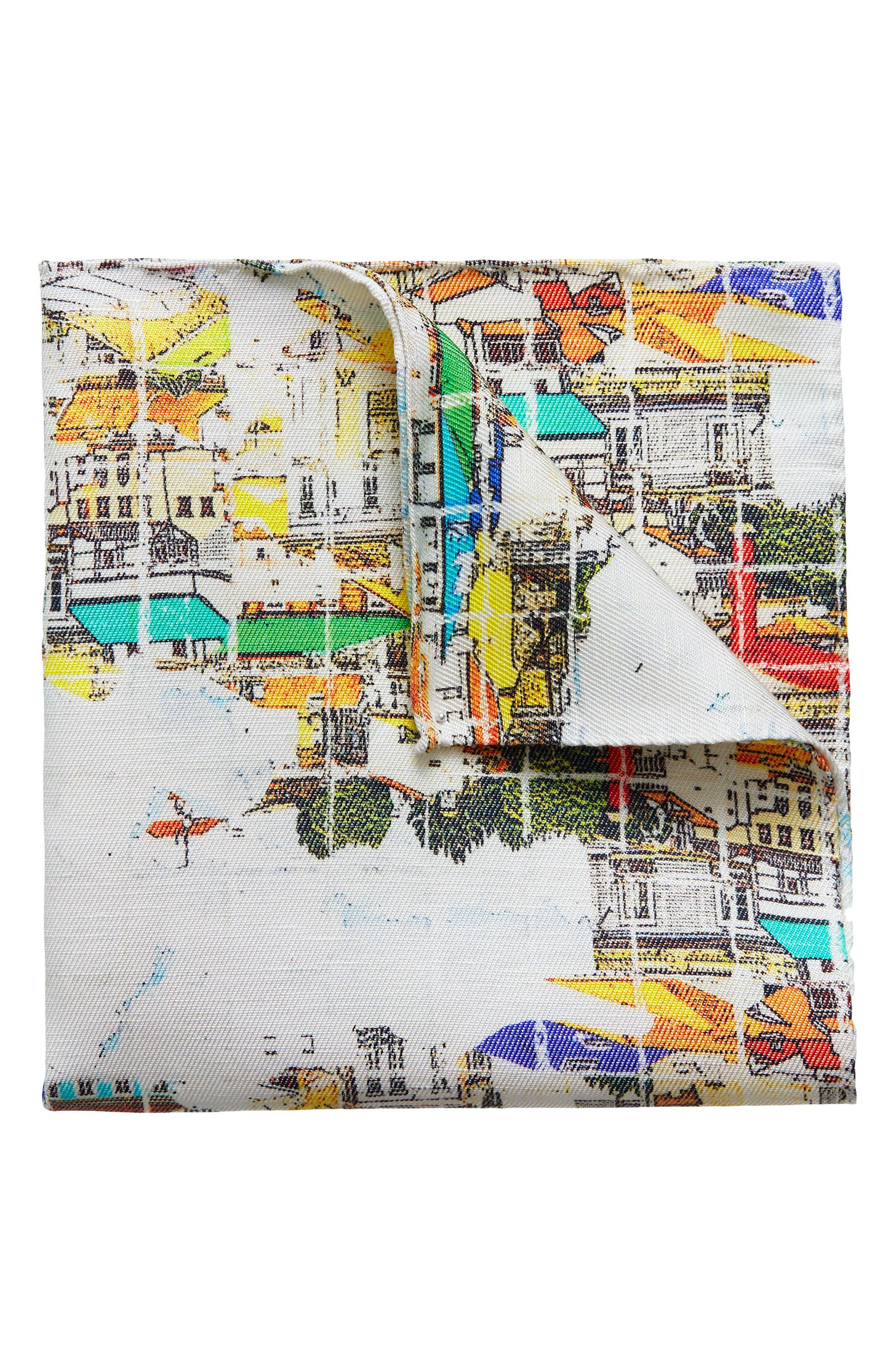 Houses Linen & Silk Pocket Square,                             Main thumbnail 1, color,                             Multi