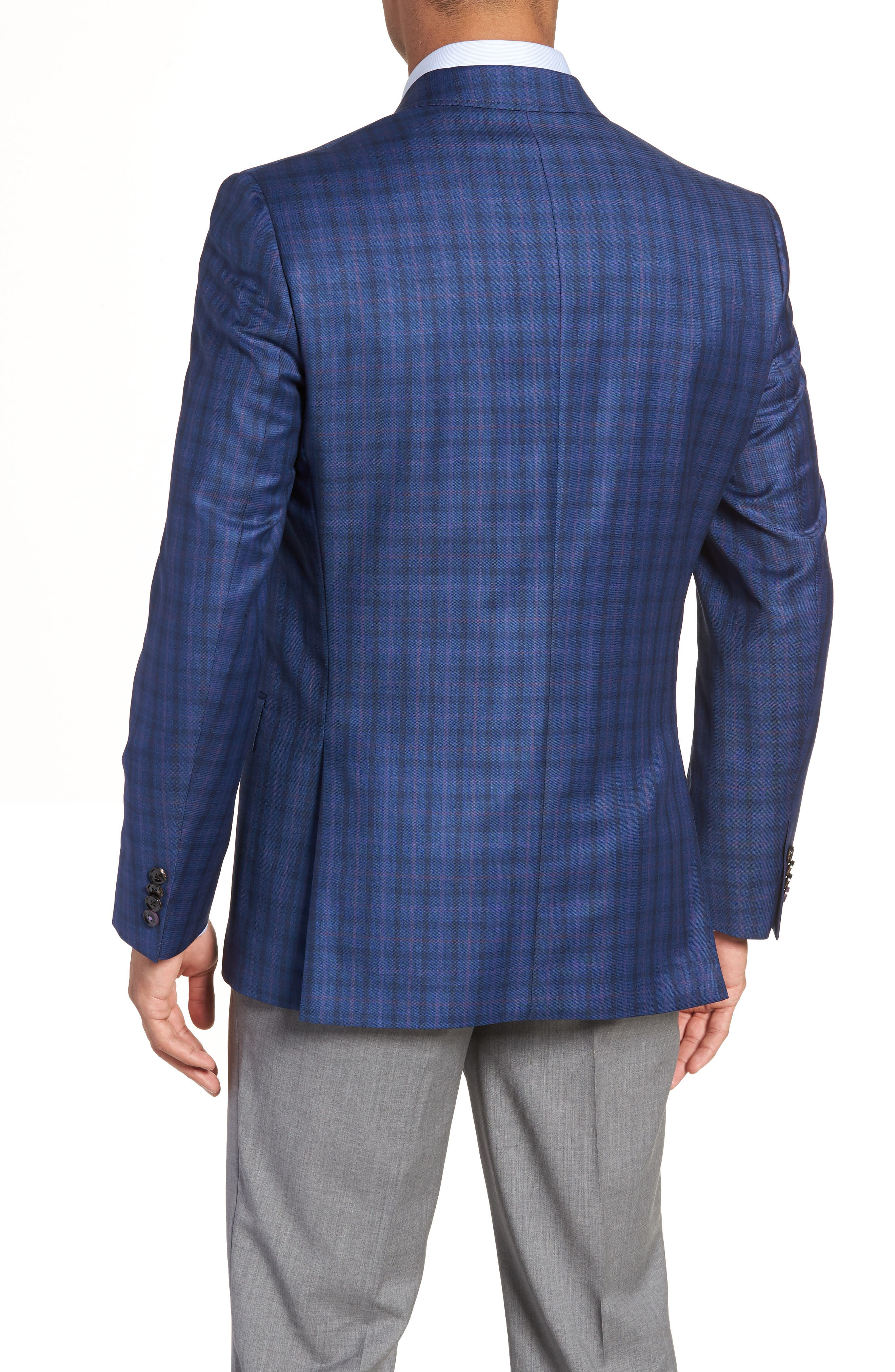 Jay Trim Fit Windowpane Wool Sport Coat,                             Alternate thumbnail 2, color,                             Blue