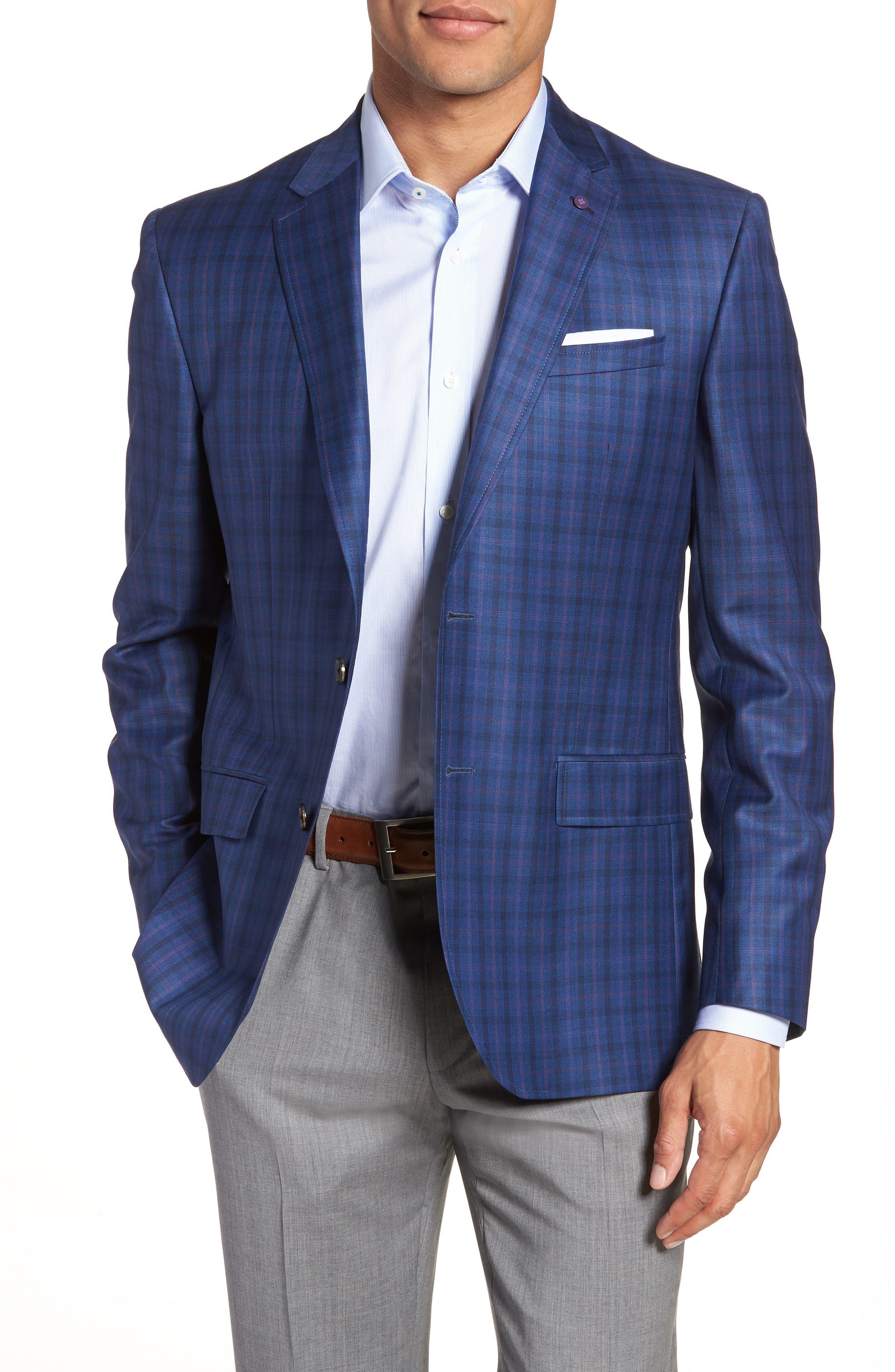 Jay Trim Fit Windowpane Wool Sport Coat,                             Main thumbnail 1, color,                             Blue