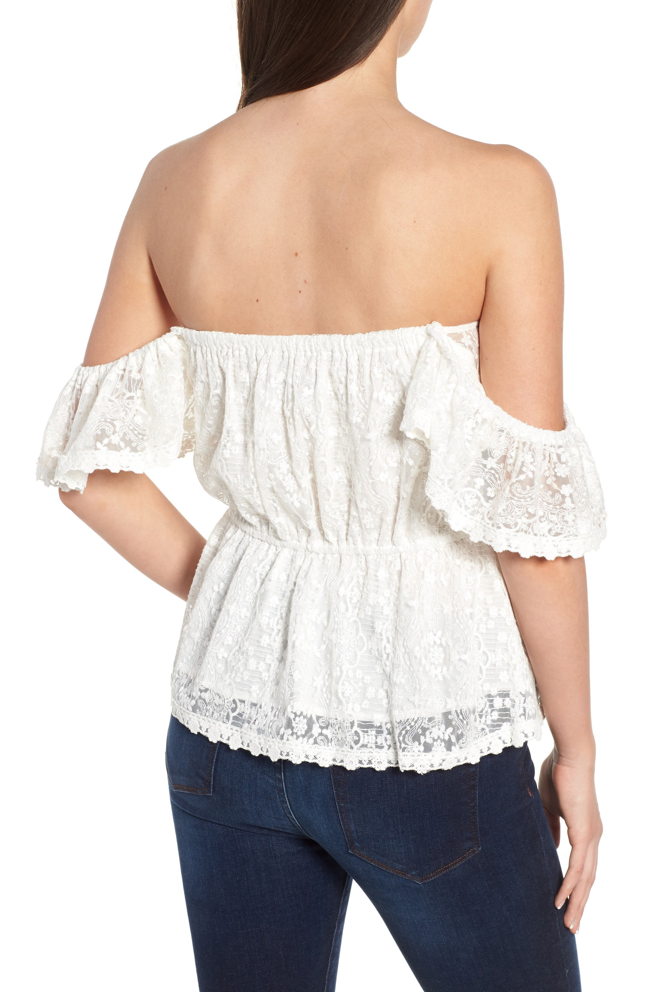 Breena Lace Off the Shoulder Top,                             Alternate thumbnail 2, color,                             Ivory