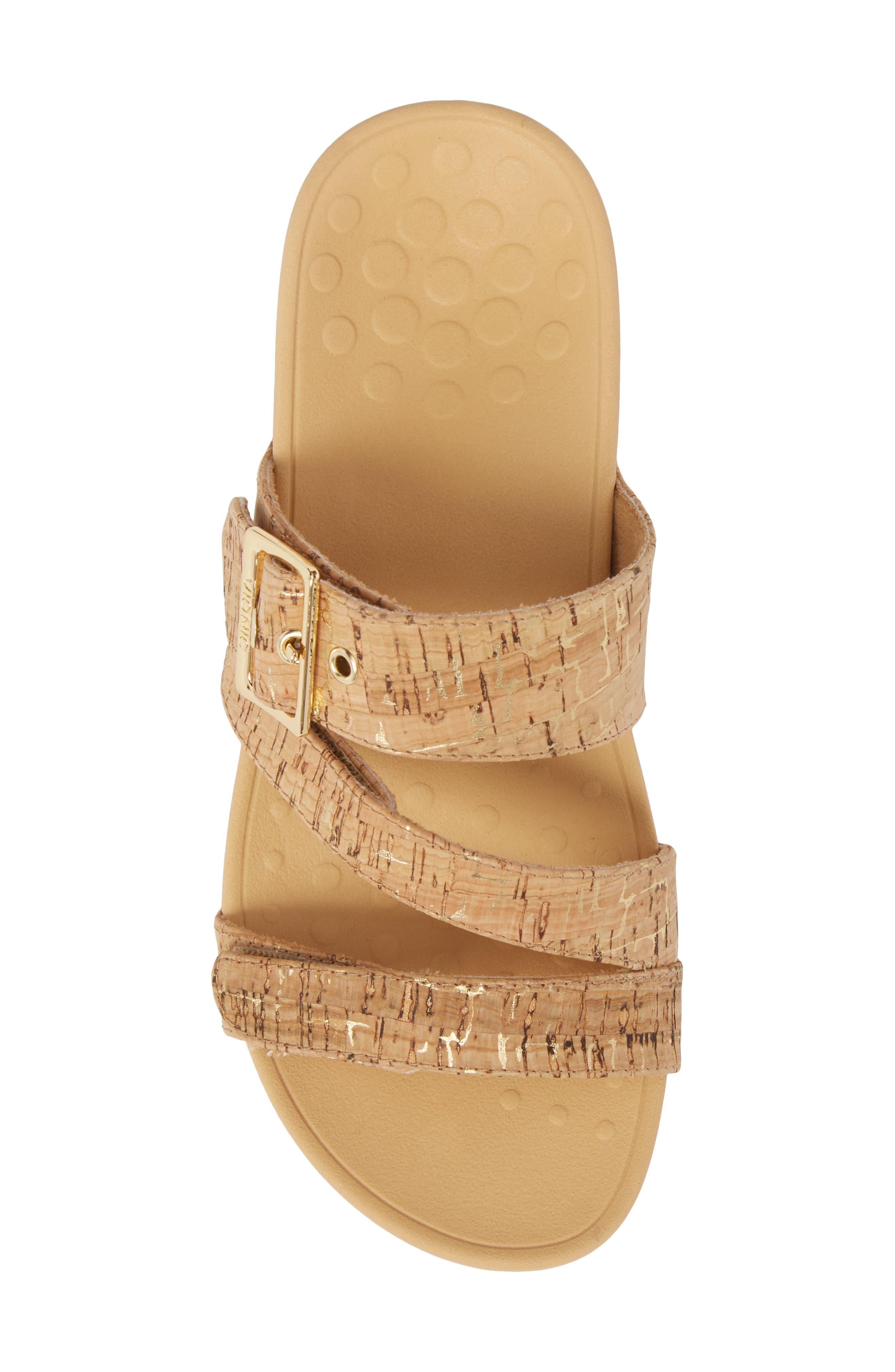 Rio Orthaheel<sup>®</sup> Slide Sandal,                             Alternate thumbnail 5, color,                             Gold Cork Fabric