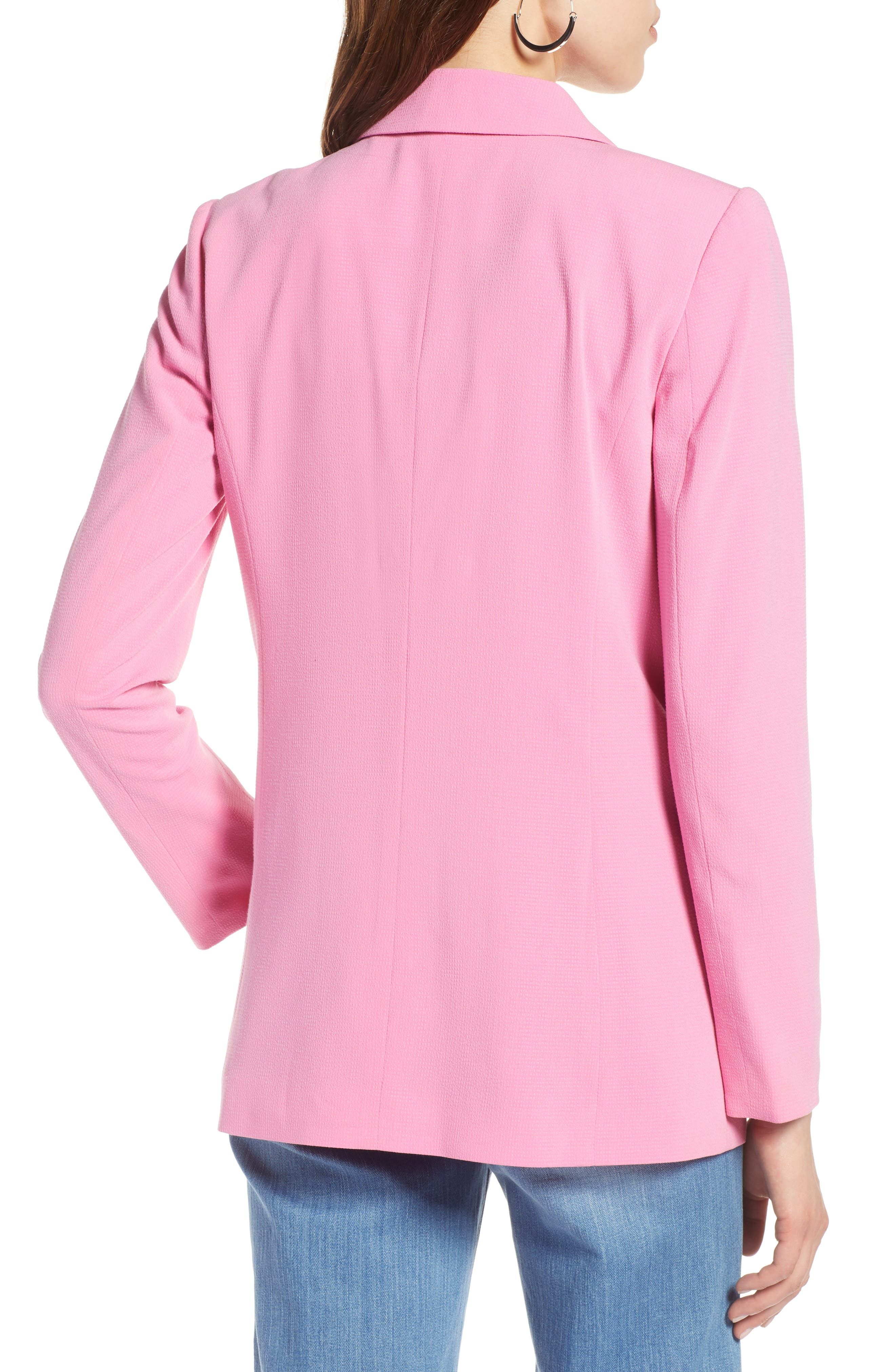 One Button Blazer,                             Alternate thumbnail 2, color,                             Pink Trillium