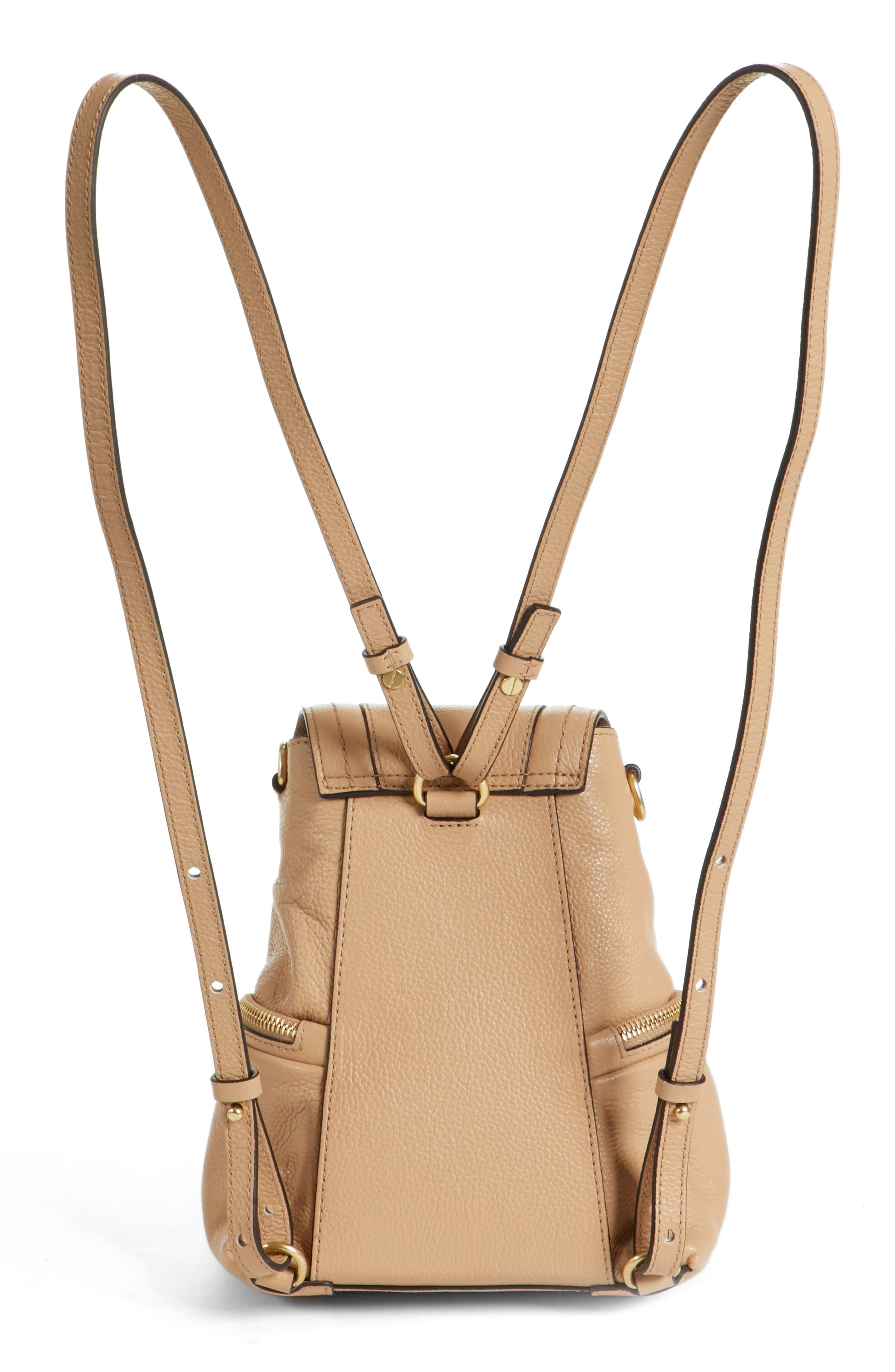 Small Olga Leather Backpack,                             Alternate thumbnail 3, color,                             Blush Nude