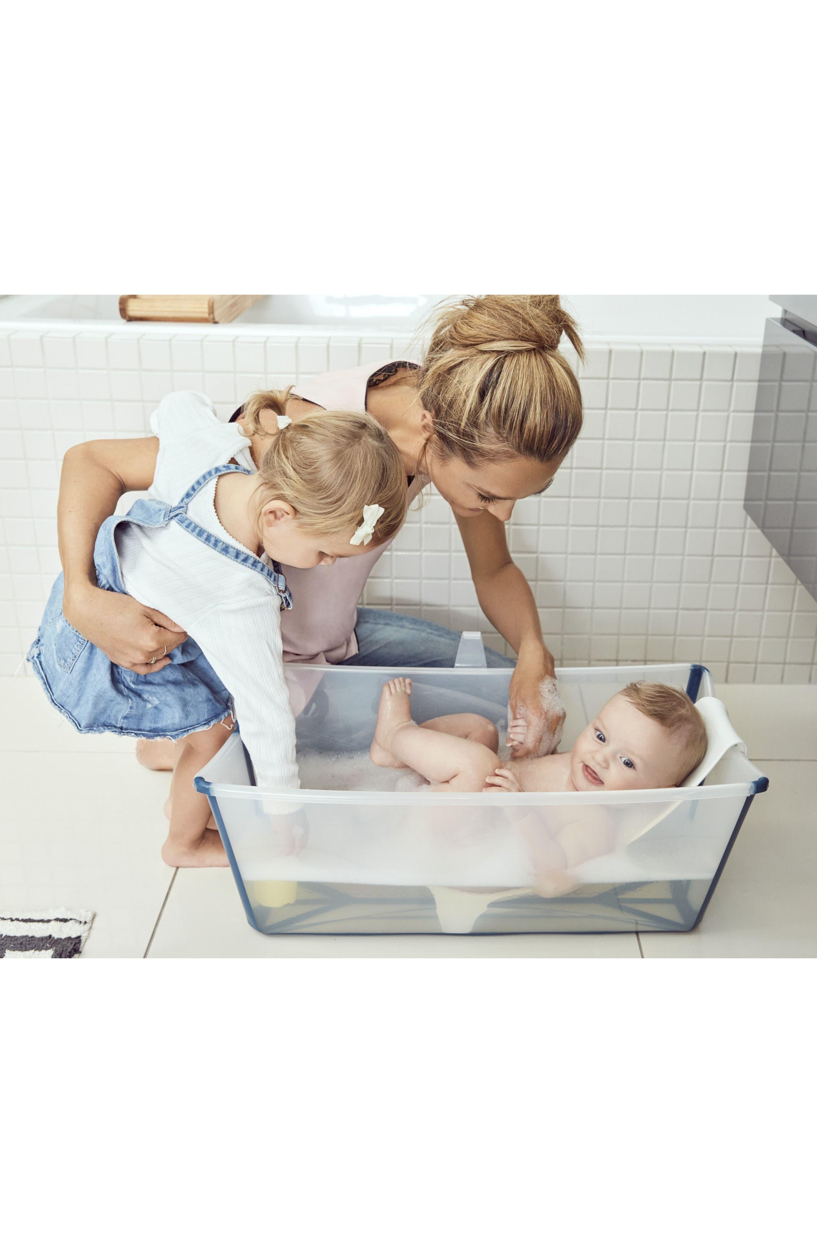 Flexi Bath<sup>®</sup> Foldable Baby Bath Tub with Newborn Support,                             Alternate thumbnail 2, color,                             Transparent Blue
