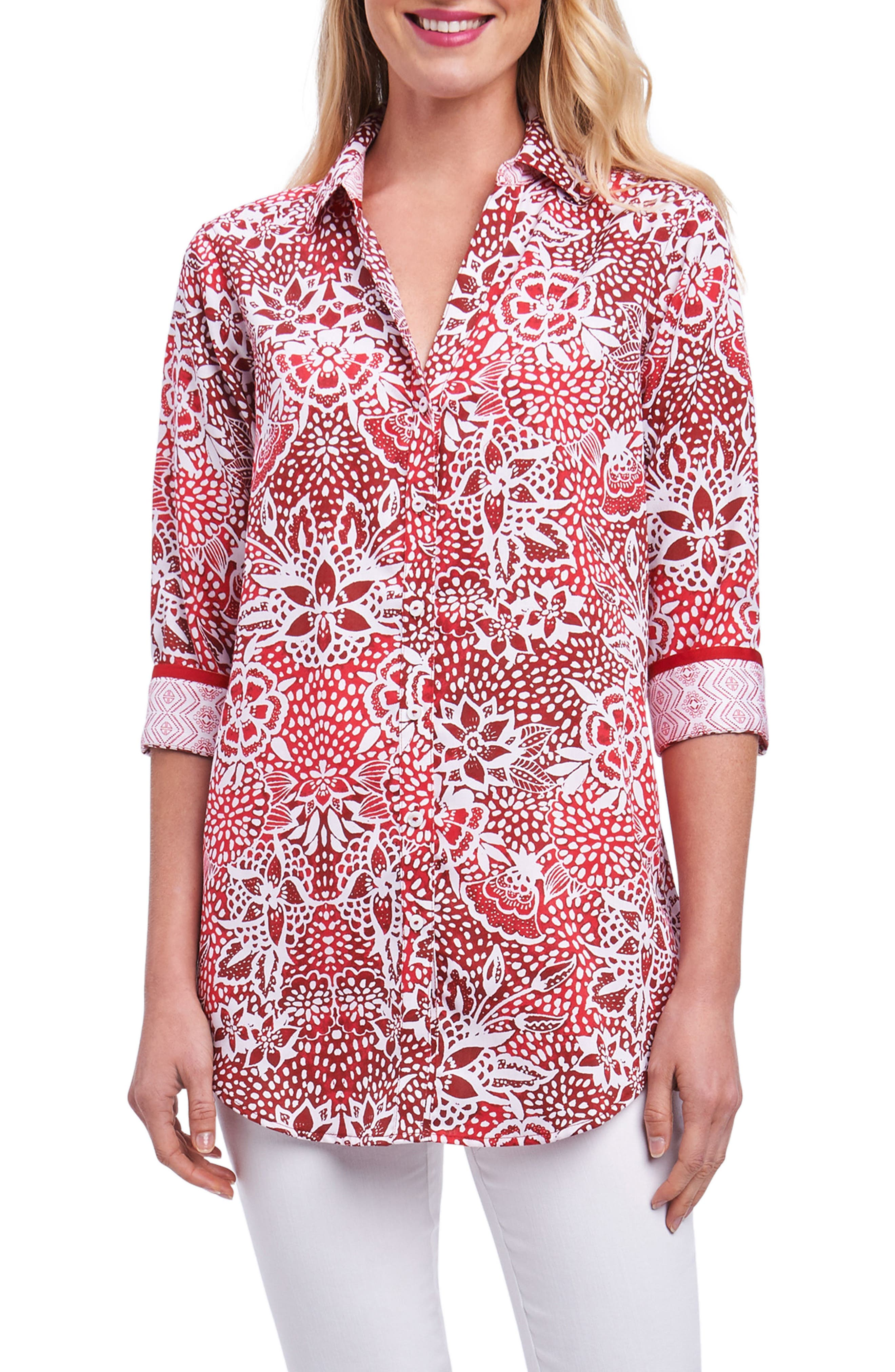 Foxcroft Faith Batik Floral Shirt (Regular & Petite)