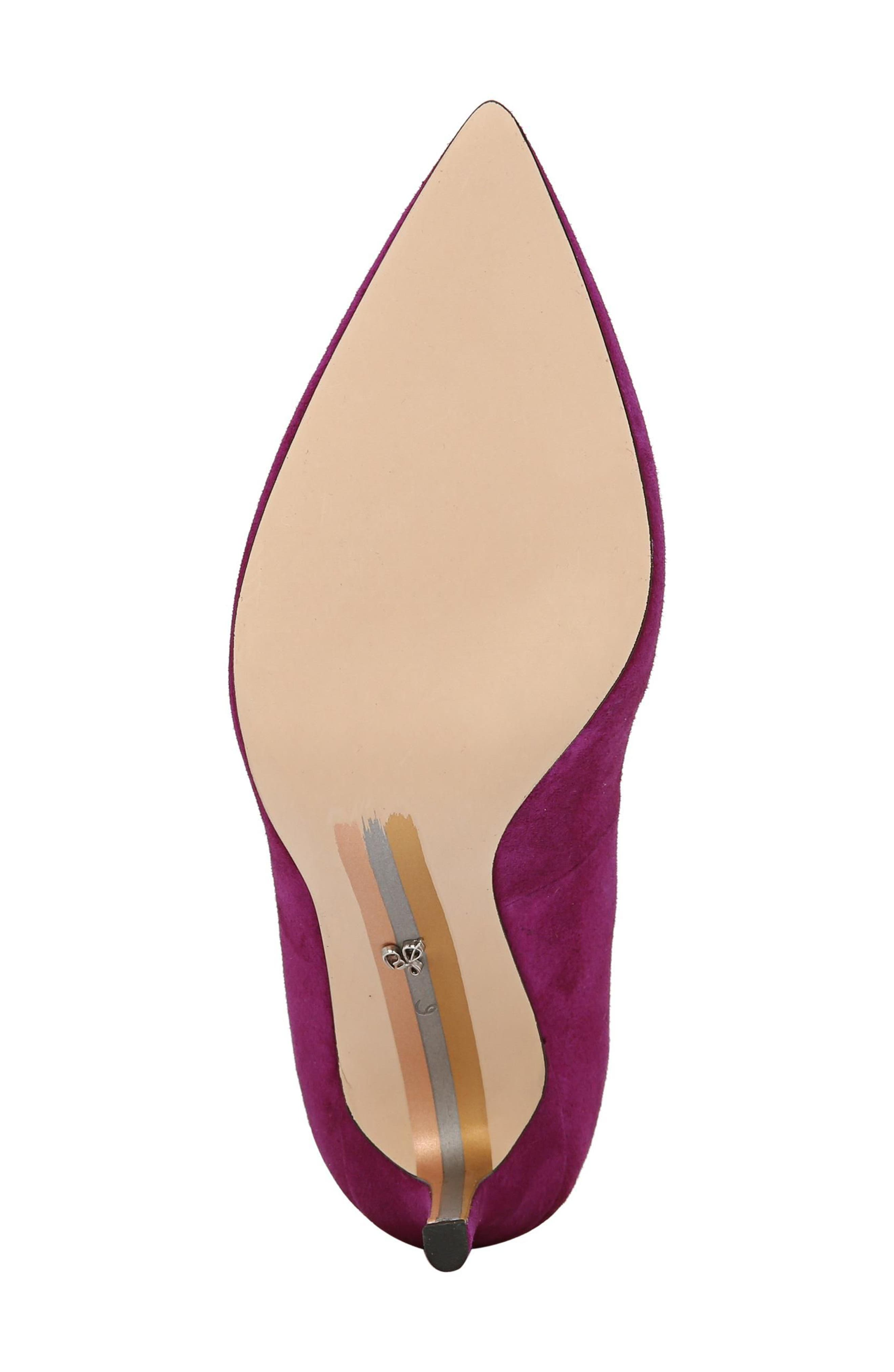 Hazel Pointy Toe Pump,                             Alternate thumbnail 5, color,                             Purple Plum Suede
