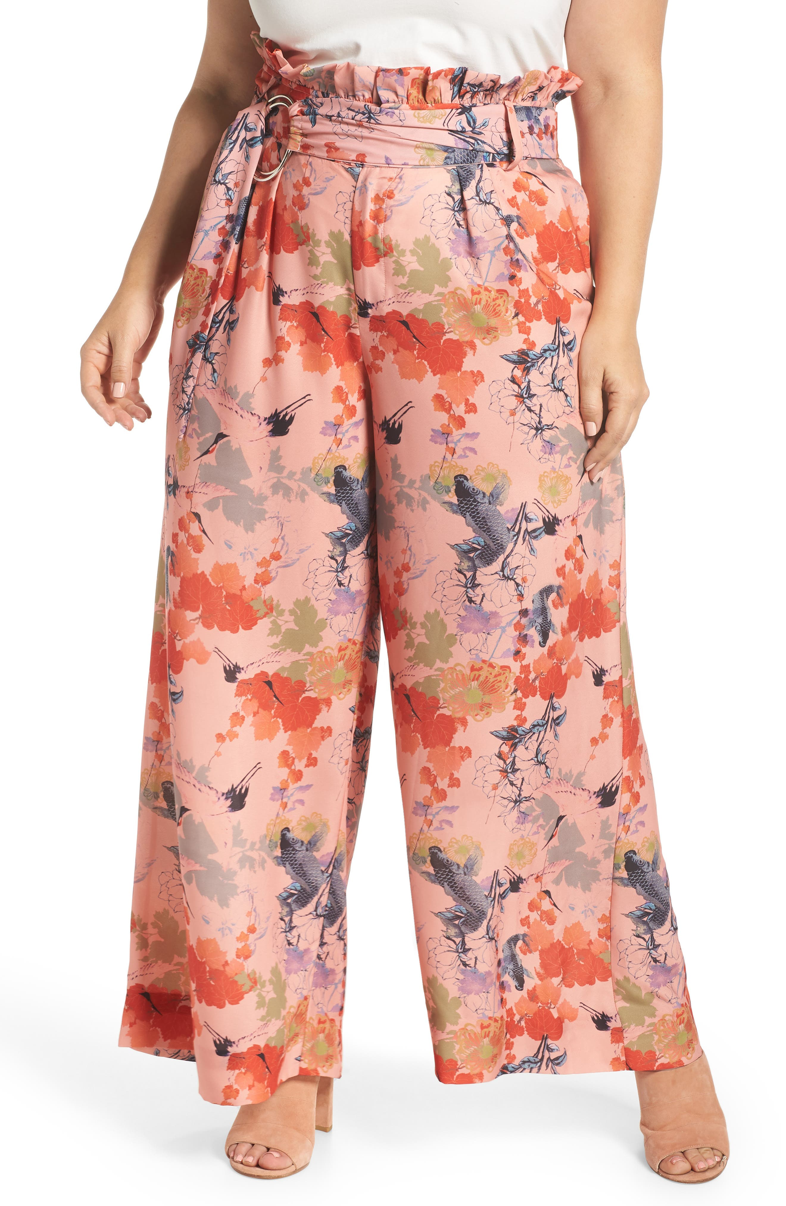 LOST INK Print Belted Wide Leg Paperbag Trousers (Plus Size)