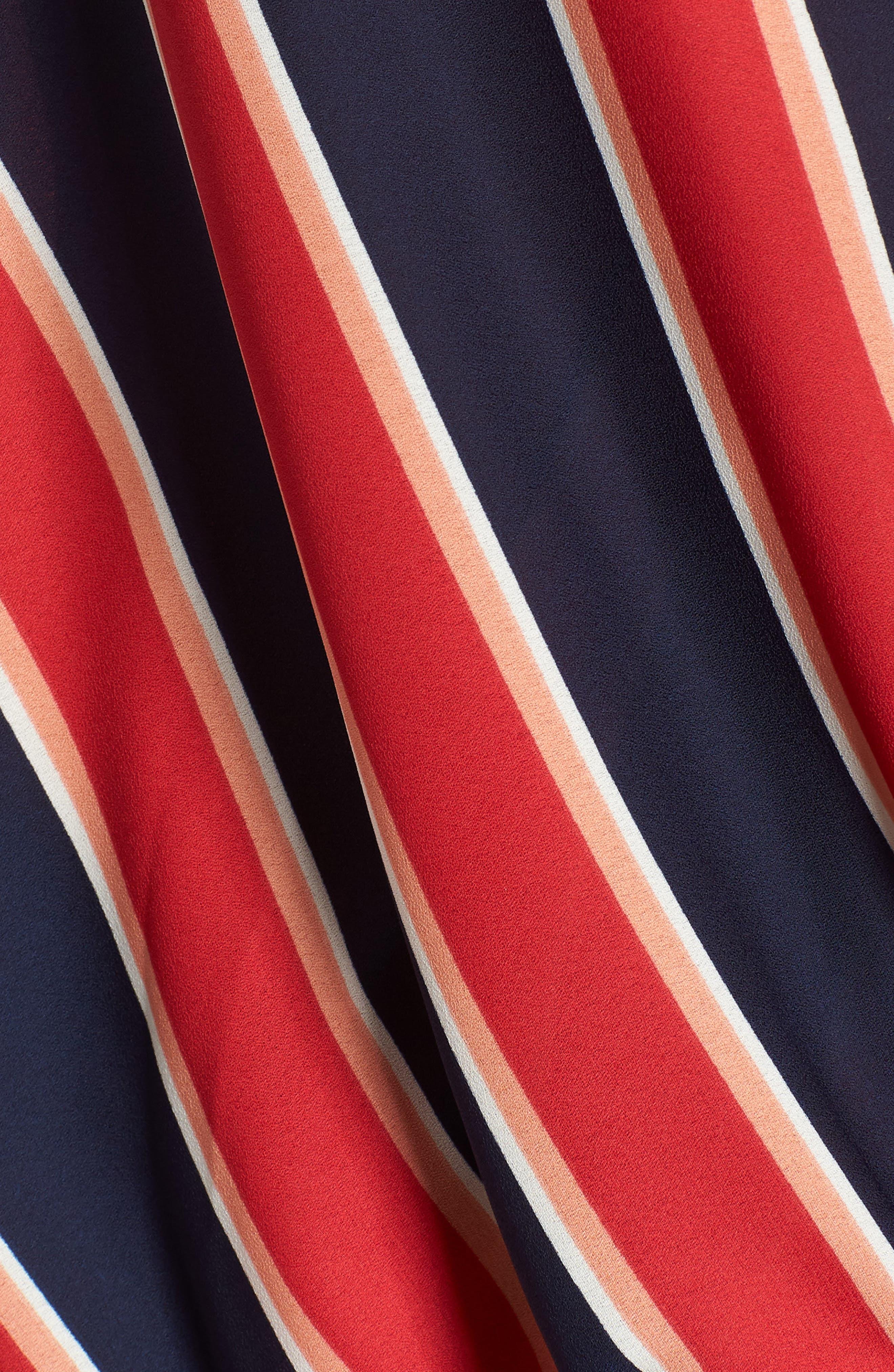 Surplice Drape Front Blouse,                             Alternate thumbnail 5, color,                             Blue/ White/ Red Stripe